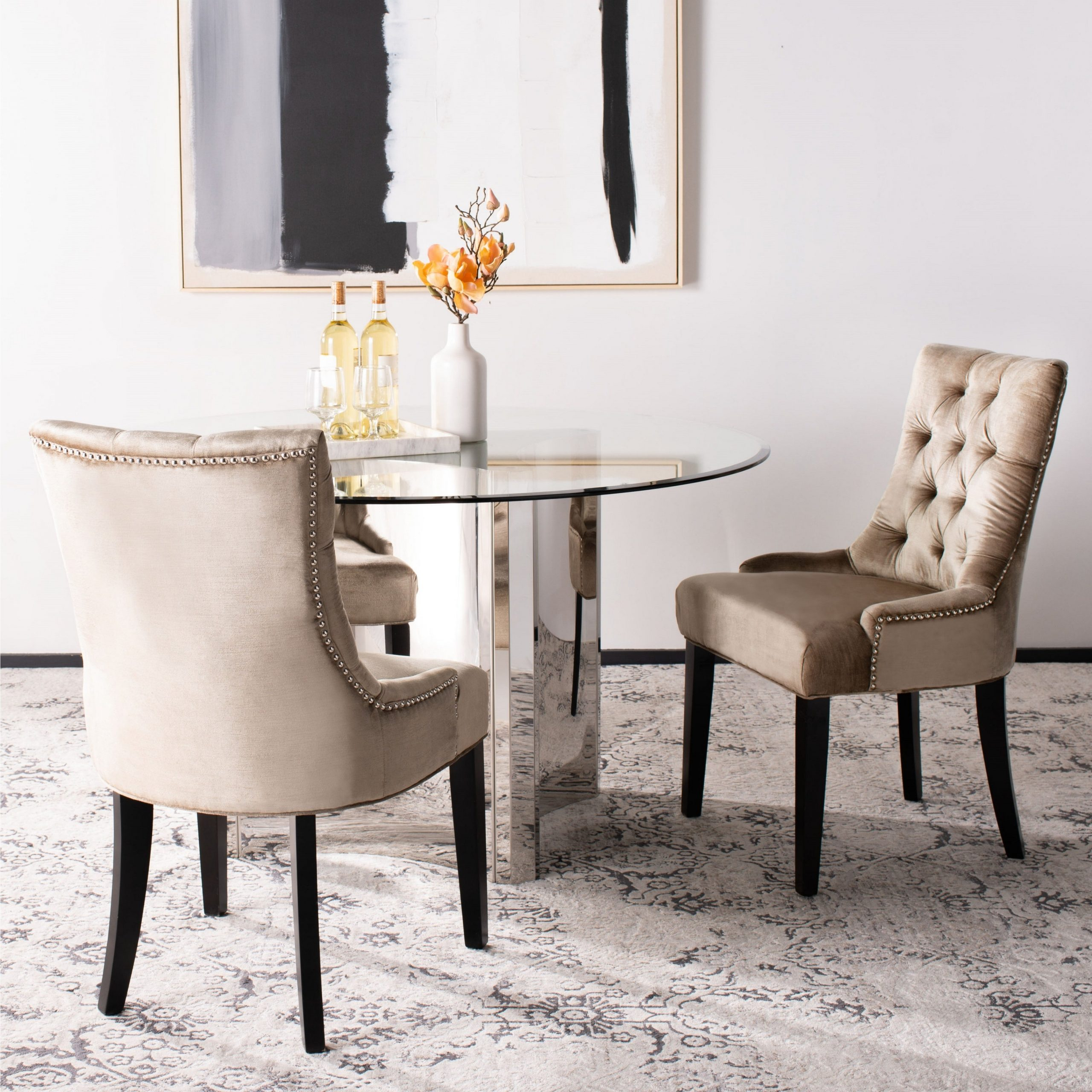 """Fashionable Madison Avenue Tufted Cotton Upholstered Dining Chairs (set Of 2) For Safavieh Abby Sage Green Tufted Side Chair (set Of 2) – 22""""x23.8""""x (View 5 of 20)"""