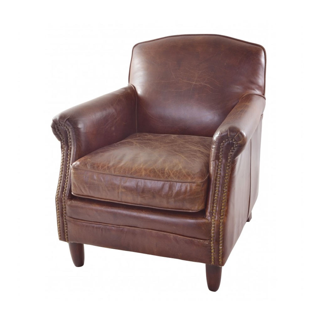Fashionable Vintage Leather Studded Front Leather Armchair With Wooden Legs Throughout Selby Armchairs (View 16 of 20)