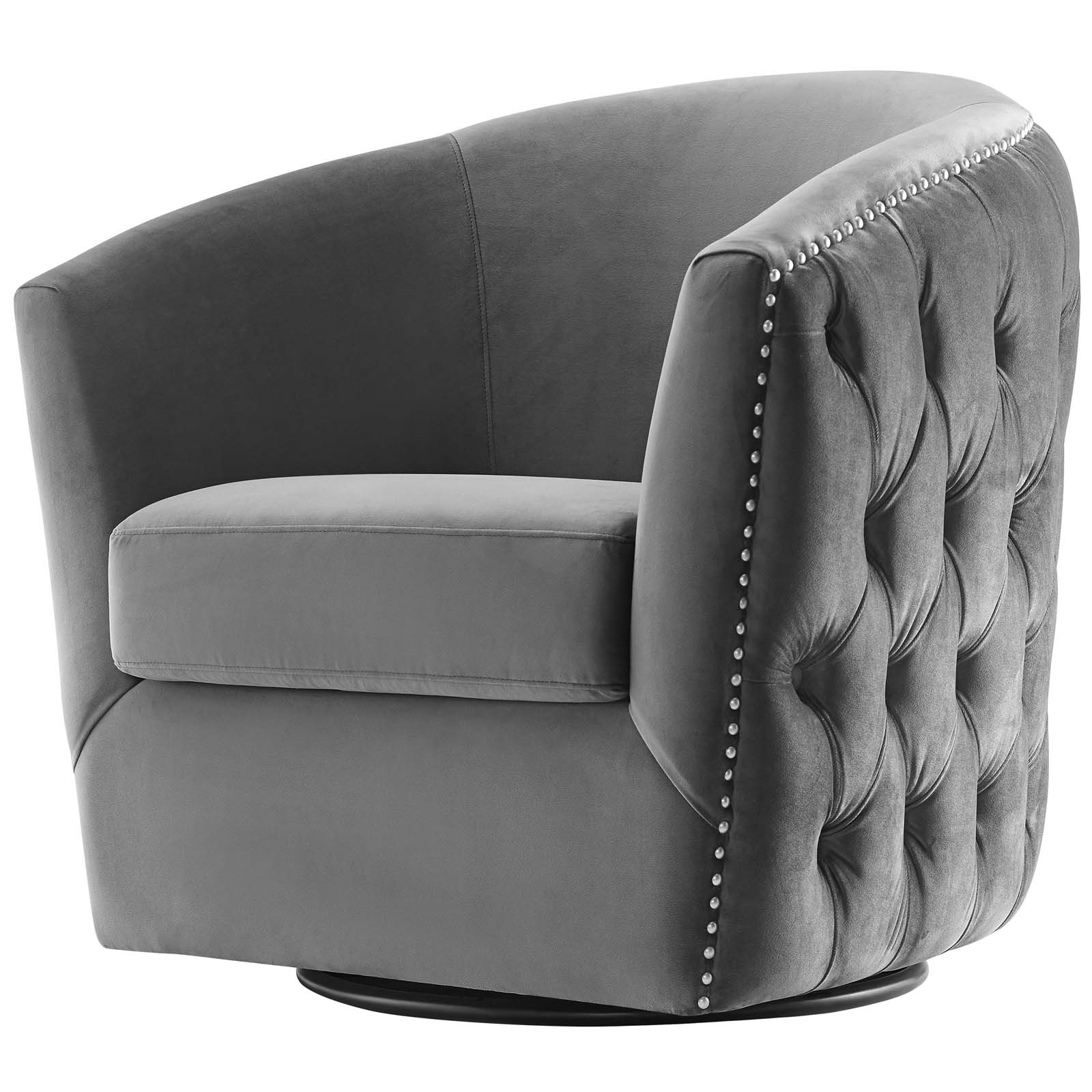 Fashionable Ziaa Armchairs (set Of 2) Regarding Swivel Performance Velvet Armchair, Gray – Walmart (View 19 of 20)