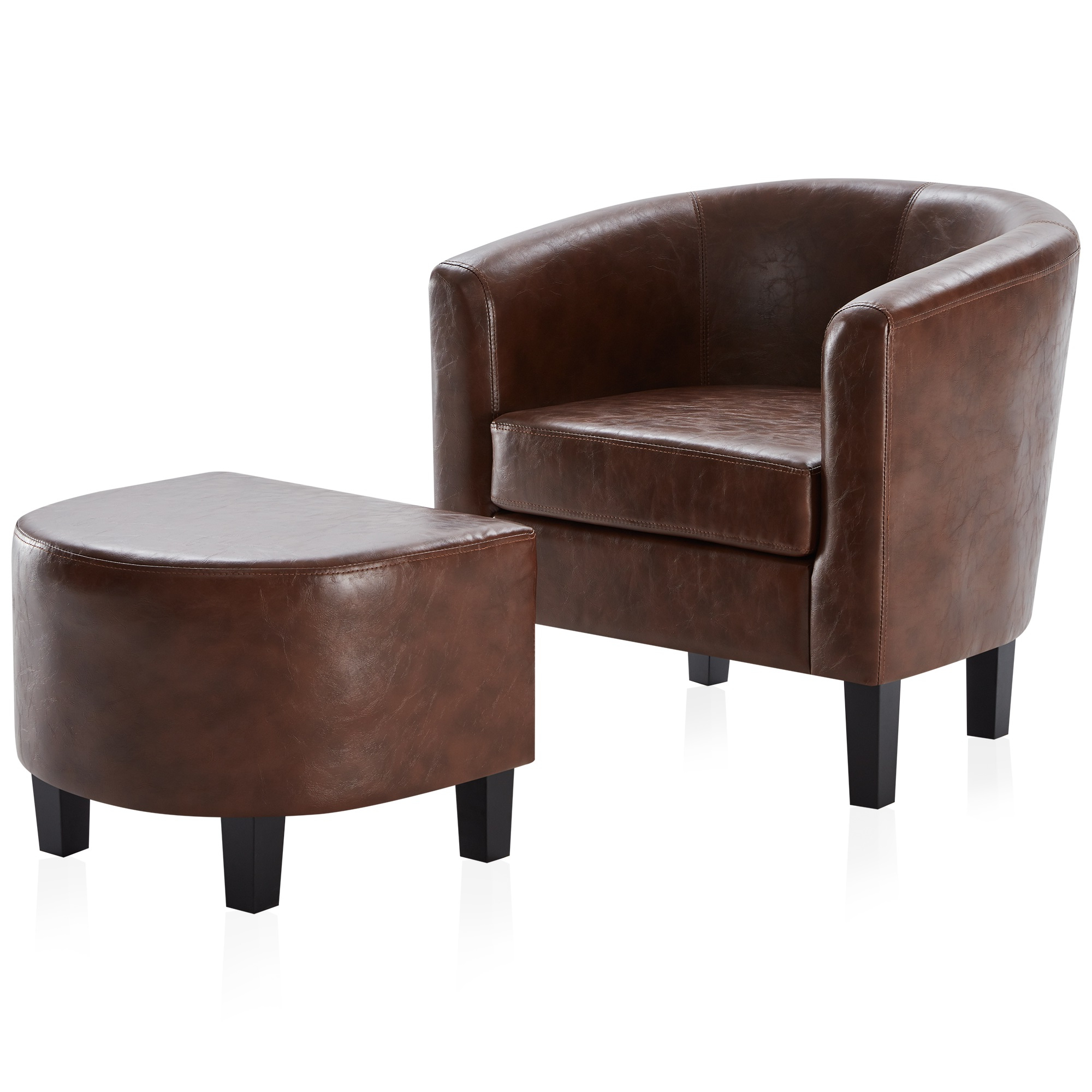 Faux Leather Barrel Chair And Ottoman Sets With Widely Used Belleze Modern Barrel Accent Chair With Ottoman Linen/ Faux Leather Round Arms Footrest Set – Walmart (View 5 of 20)
