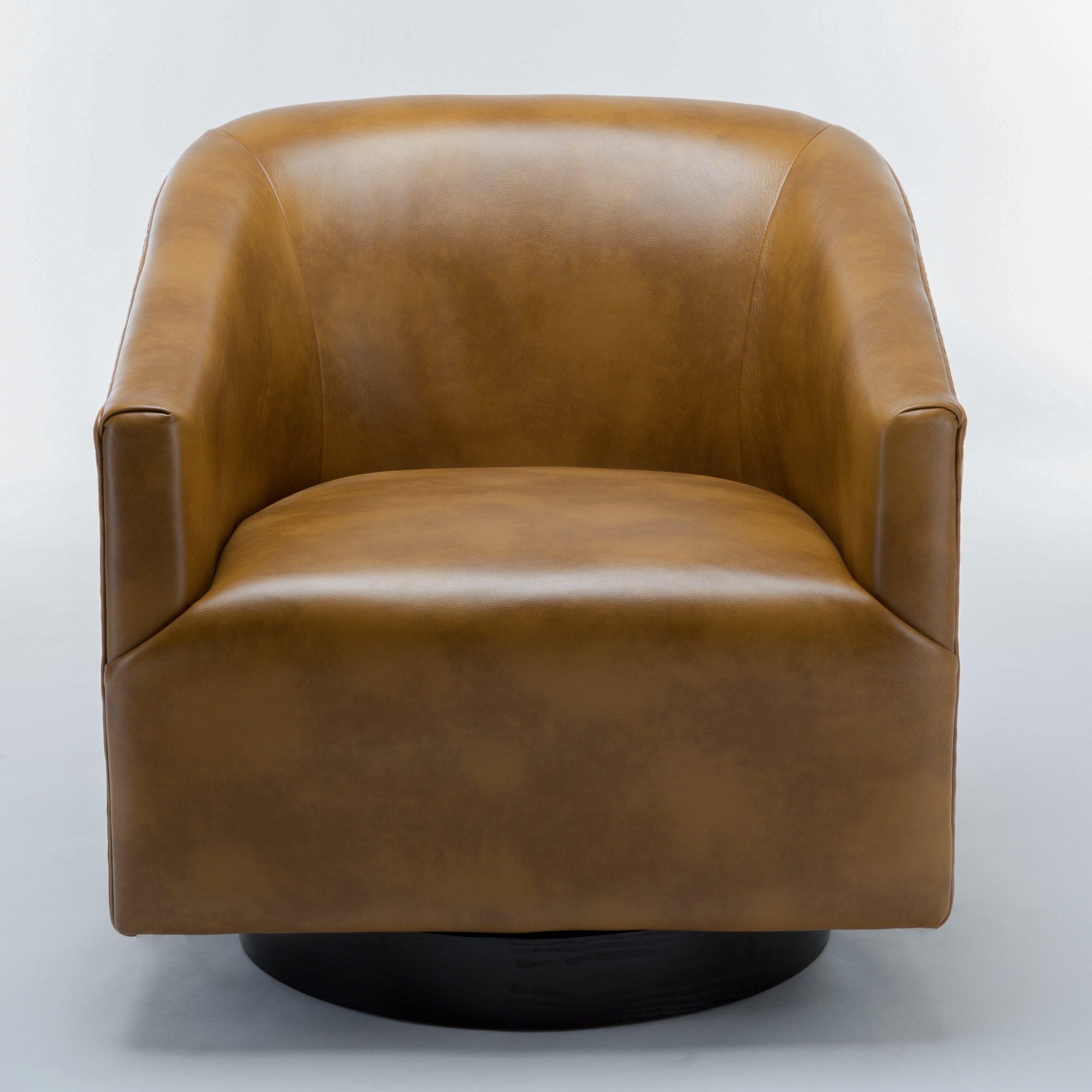 "Faux Leather Barrel Chairs Inside 2019 Mcintyre 30"" W Faux Leather Swivel Barrel Chair (View 3 of 20)"