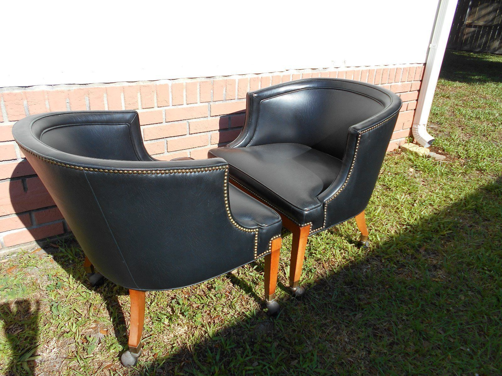 Faux Leather Barrel Chairs Regarding Popular Pair Of 70s Vintage Mid Century Black Faux Leather Barrel (View 18 of 20)
