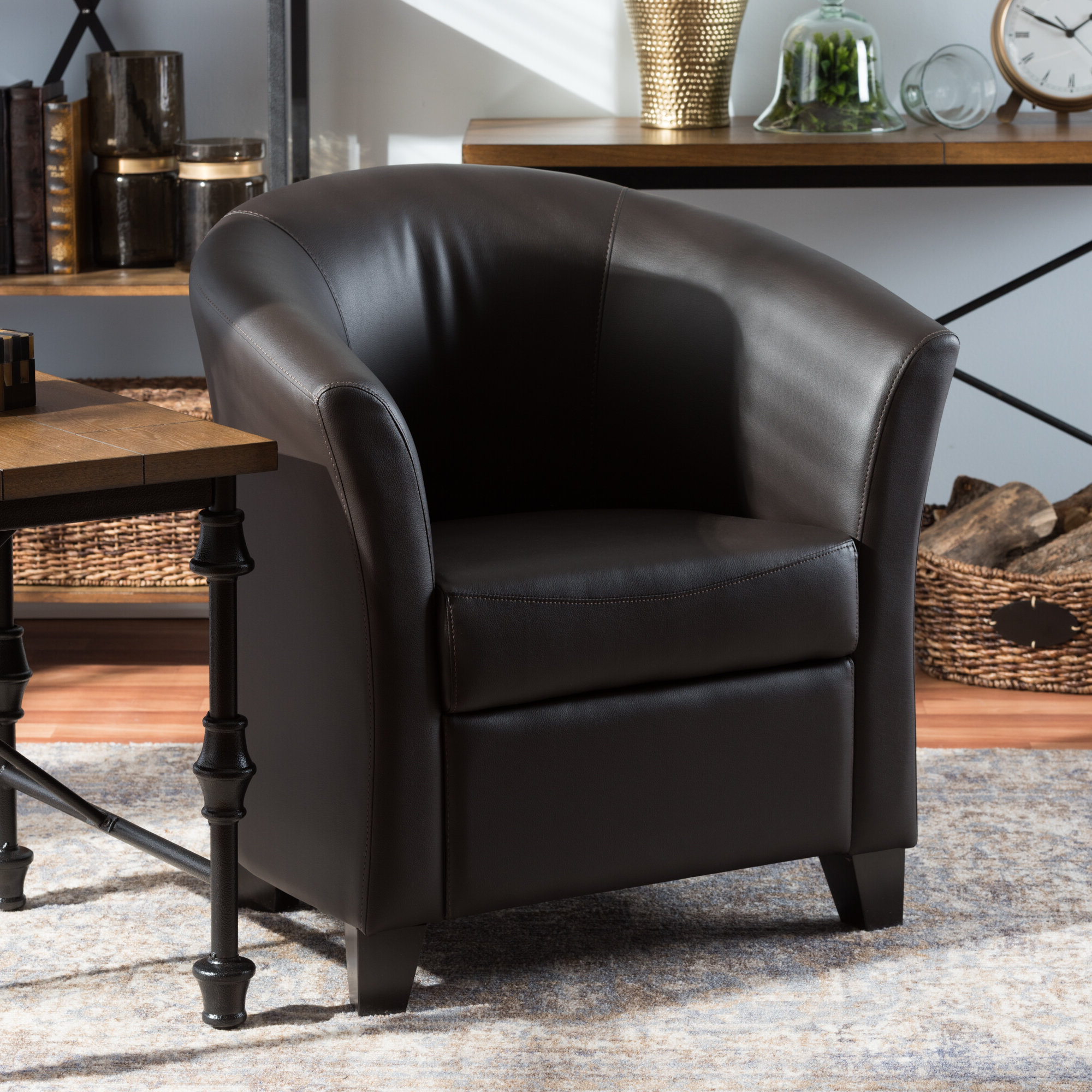 "Favorite Calla 31"" W Faux Leather Barrel Chair Within Lucea Faux Leather Barrel Chairs And Ottoman (View 18 of 20)"