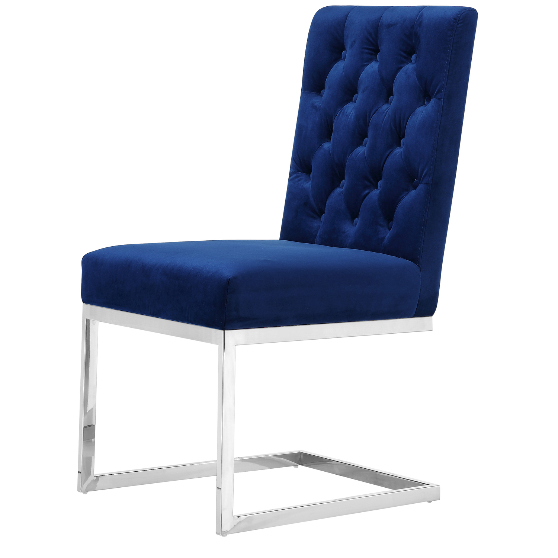 Favorite Carlton Navy Velvet Dining Chair, Set Of 2 Color:navy  Velvet,finish:chrome,style:contemporary In Carlton Wood Leg Upholstered Dining Chairs (View 20 of 20)