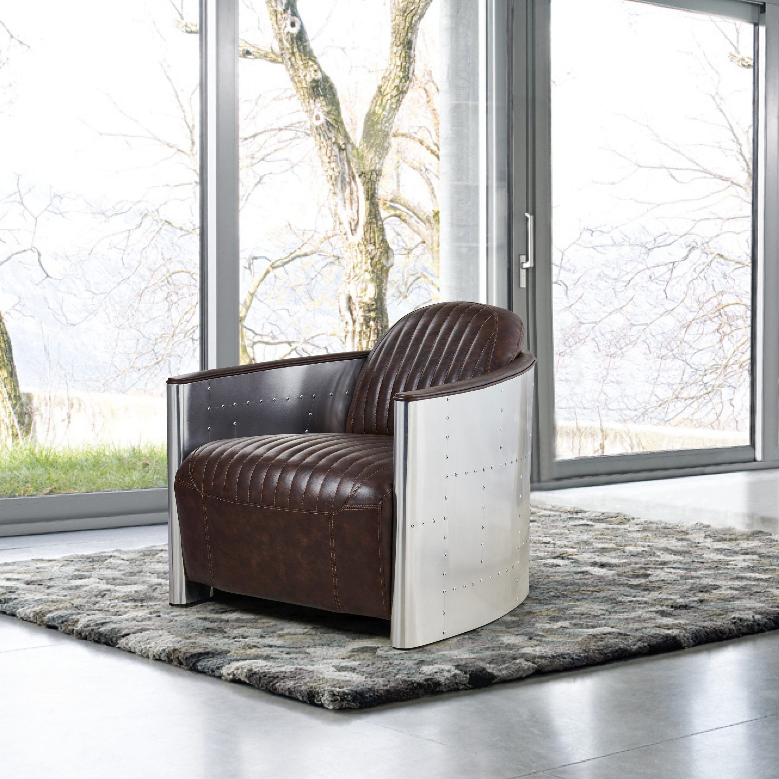 "Favorite Cavallo 33"" W Faux Leather Barrel Chair Inside Liam Faux Leather Barrel Chairs (View 18 of 20)"