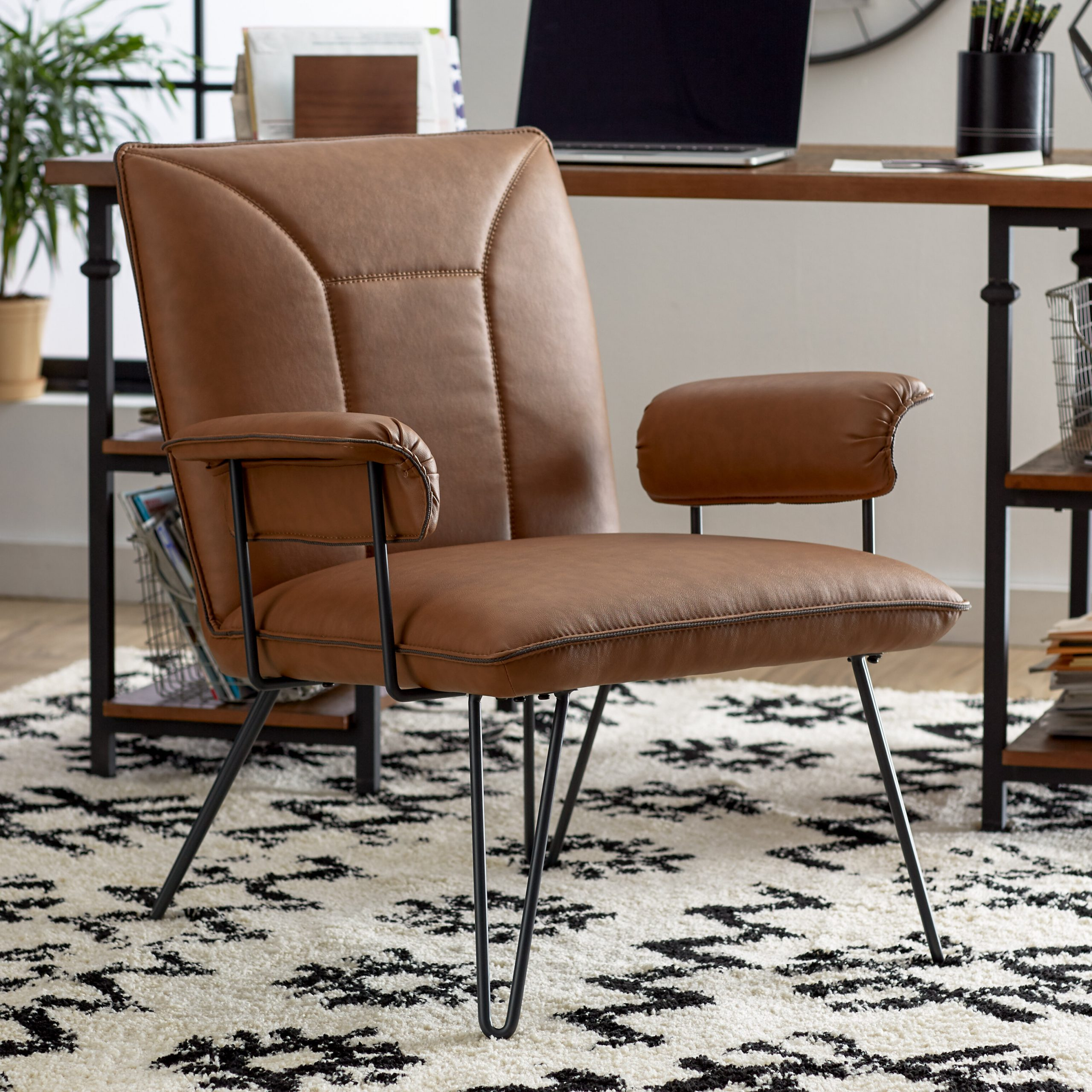 Favorite Coomer Faux Leather Barrel Chairs With Faux Leather Accent Chairs You'll Love In (View 5 of 20)