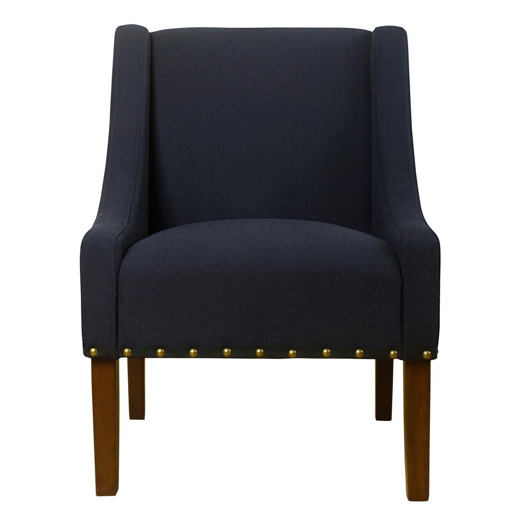 Favorite Dallin Arm Chairs In Homepop Swoop Deep Navy With Nailhead Trim Accent Chair K7683 F2176 – The Home Depot (View 17 of 20)