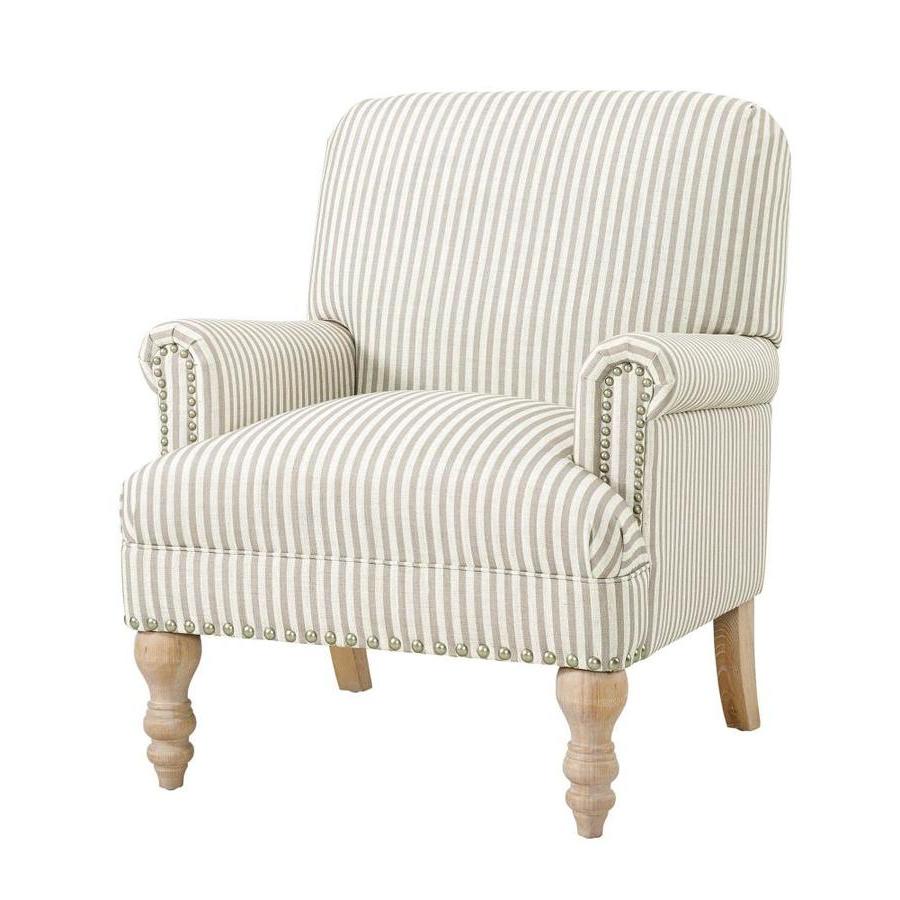 Favorite Dallin Arm Chairs Regarding Dhp Jaya Antique Beige Stripe Linen Accent Chair (View 16 of 20)
