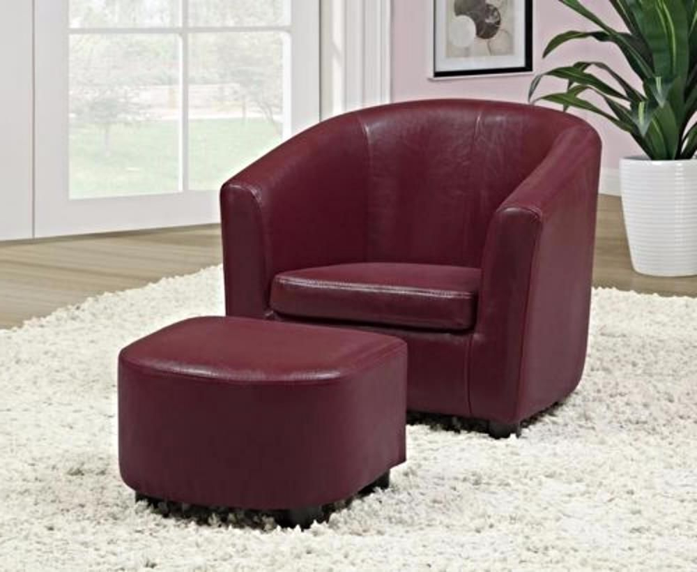 Favorite Faux Leather Barrel Chair And Ottoman Sets Regarding Kids Barrel Club Chair Ottoman Seat Set Leather Armchair (View 6 of 20)
