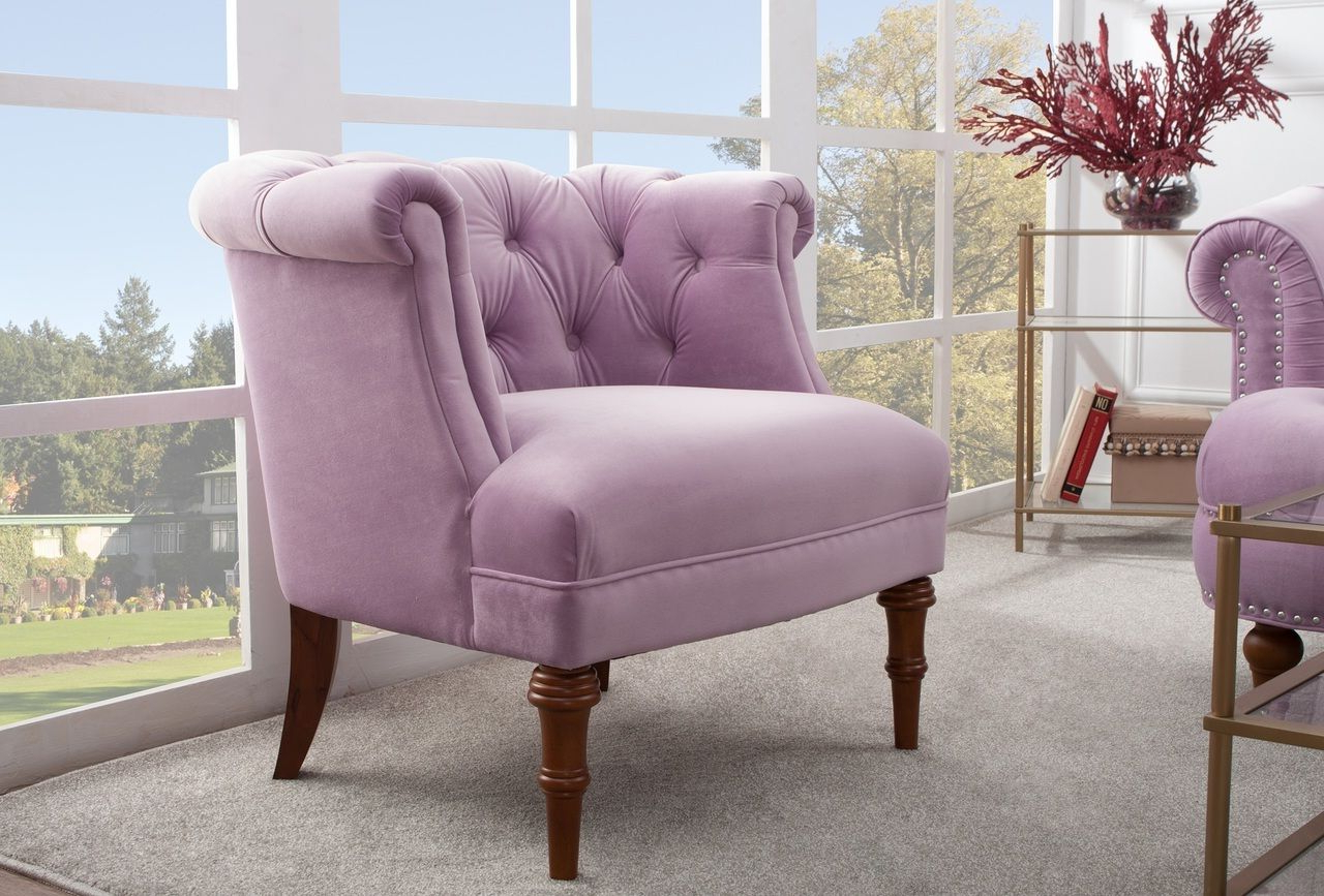 Favorite Maubara Tufted Wingback Chairs Regarding Katherine Tufted Accent Chair, Lavender (View 10 of 20)