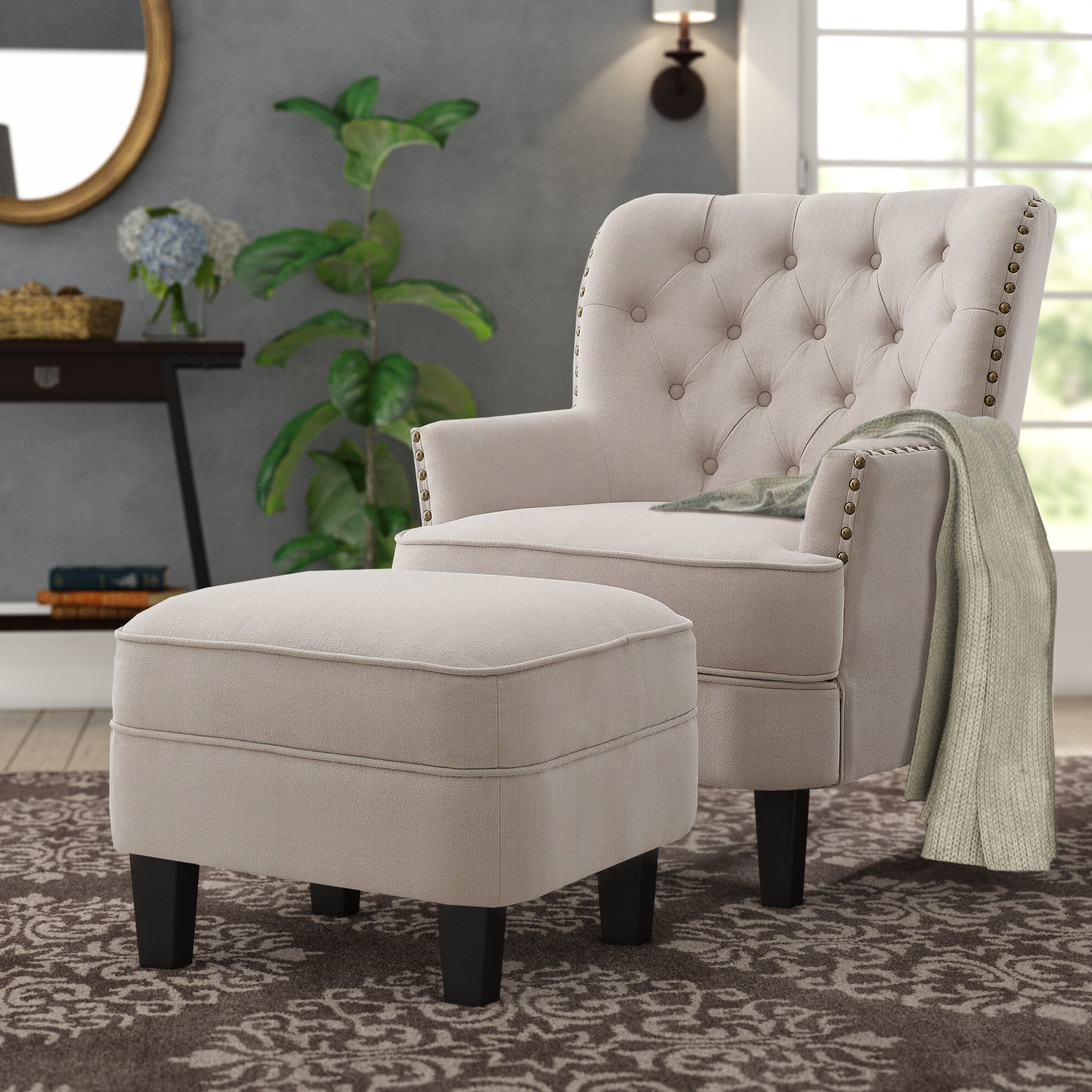 "Favorite Michalak Cheswood 23"" Armchair And Ottoman Regarding Jayde Armchairs (View 19 of 20)"