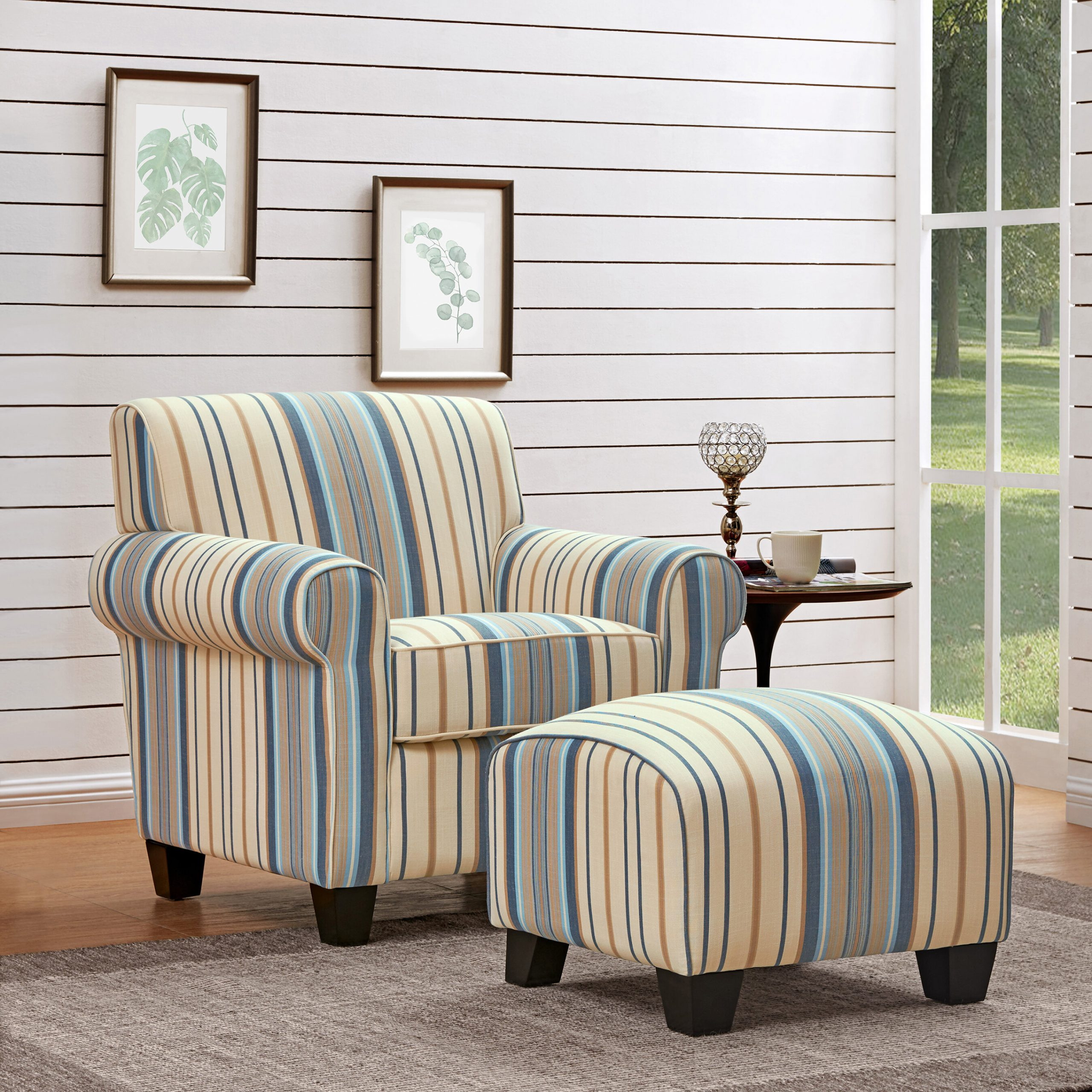 Favorite Michalak Cheswood Armchairs And Ottoman In Arm Ottoman Included Accent Chairs You'll Love In  (View 3 of 20)