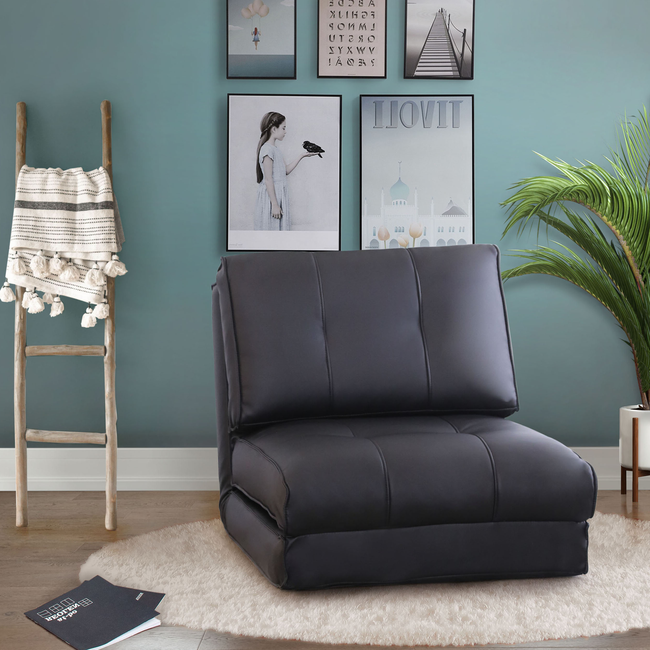 Favorite Perz Tufted Faux Leather Convertible Chairs Throughout Convertible Solid Accent Chairs You'll Love In (View 13 of 20)