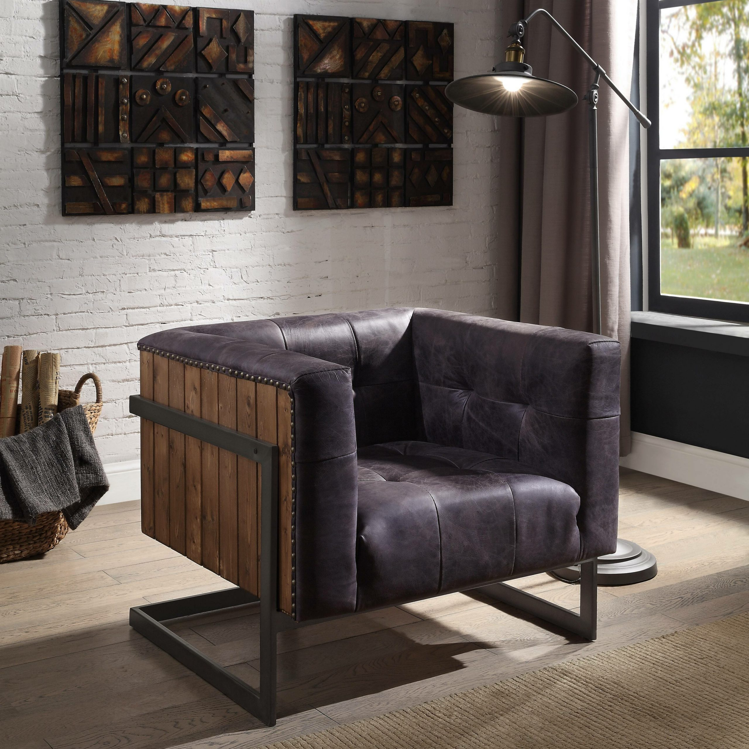 """Favorite Sheldon Tufted Top Grain Leather Club Chairs Intended For Allard 31"""" W Tufted Top Grain Leather Club Chair (View 5 of 20)"""