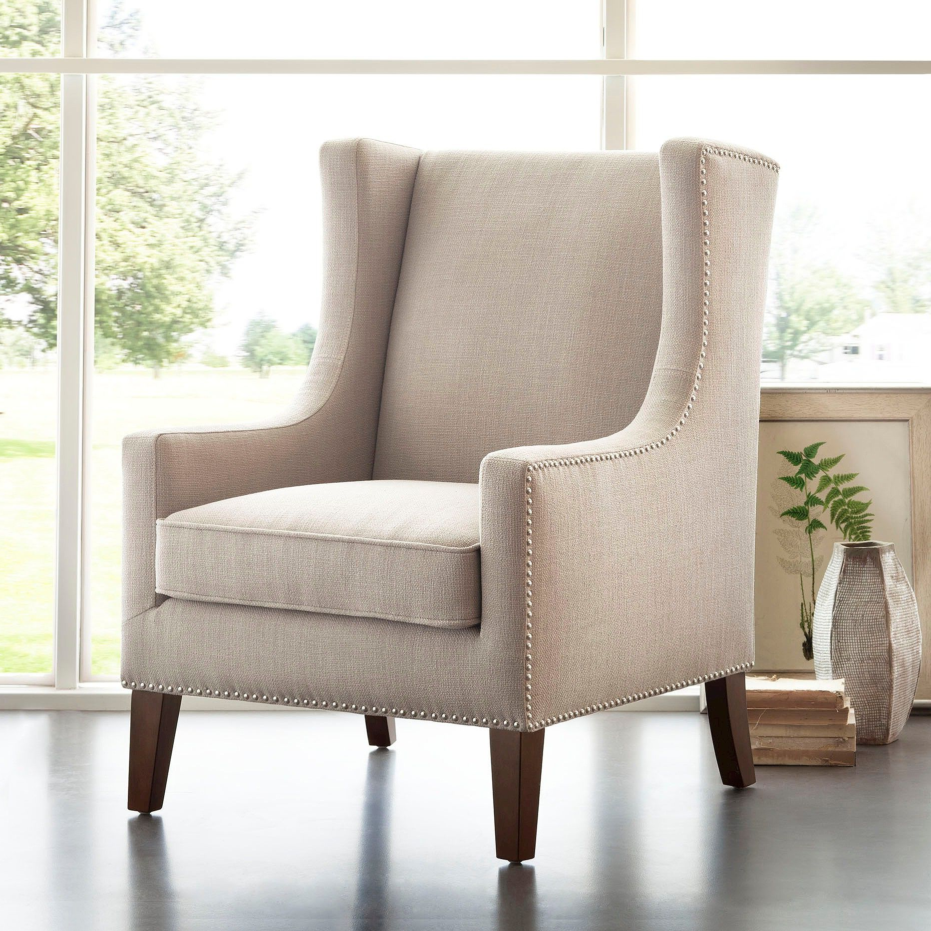 Galesville Tufted Polyester Wingback Chairs With Most Recent Colette Wing Chair Linen (View 7 of 20)