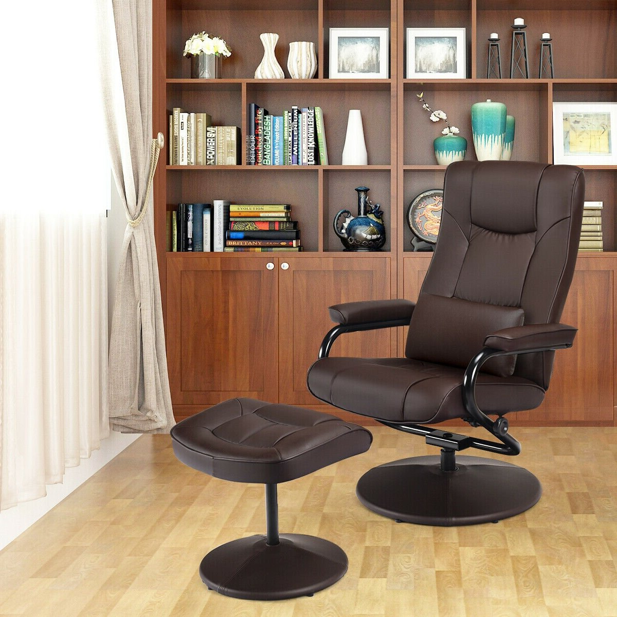 George Oliver Herren 26'' W Faux Leather Swivel Armchair And Throughout Most Recent Riverside Drive Barrel Chair And Ottoman Sets (View 16 of 20)