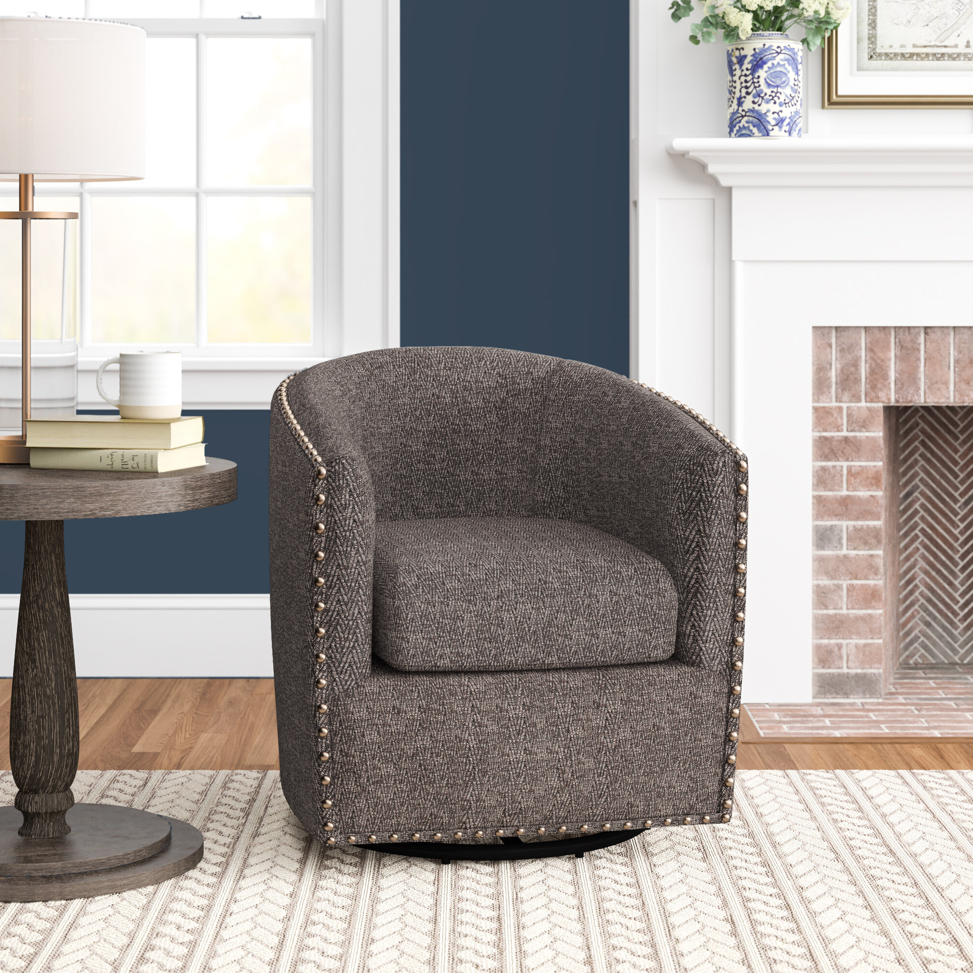 "Giguere Barrel Chairs Intended For Most Popular Three Posts™ Leominster 28"" W Polyester Swivel Barrel Chair (View 9 of 20)"