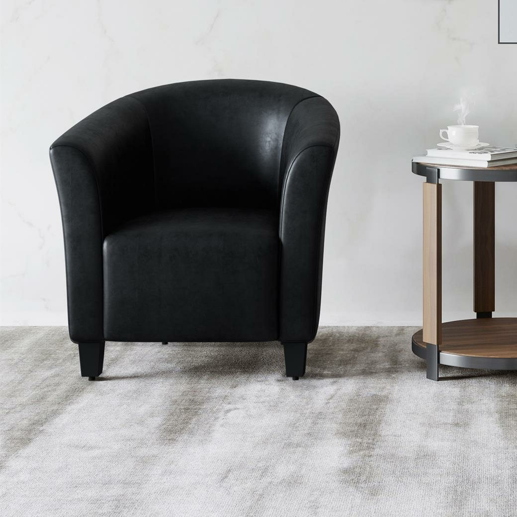Gilad Faux Leather Barrel Chairs Inside Widely Used Hazley (View 5 of 20)