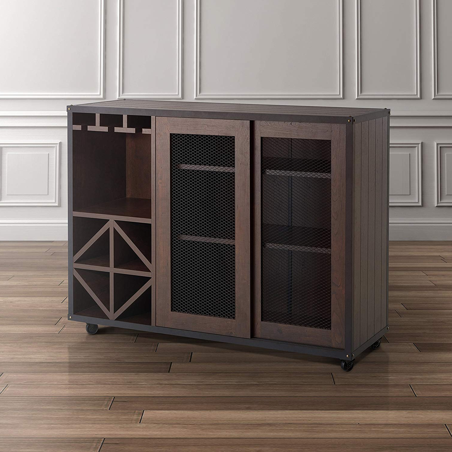 Gilad Faux Leather Barrel Chairs Regarding Well Known Transitional Wooden Wine Cabinet Buffet With Tempered Glass (View 13 of 20)