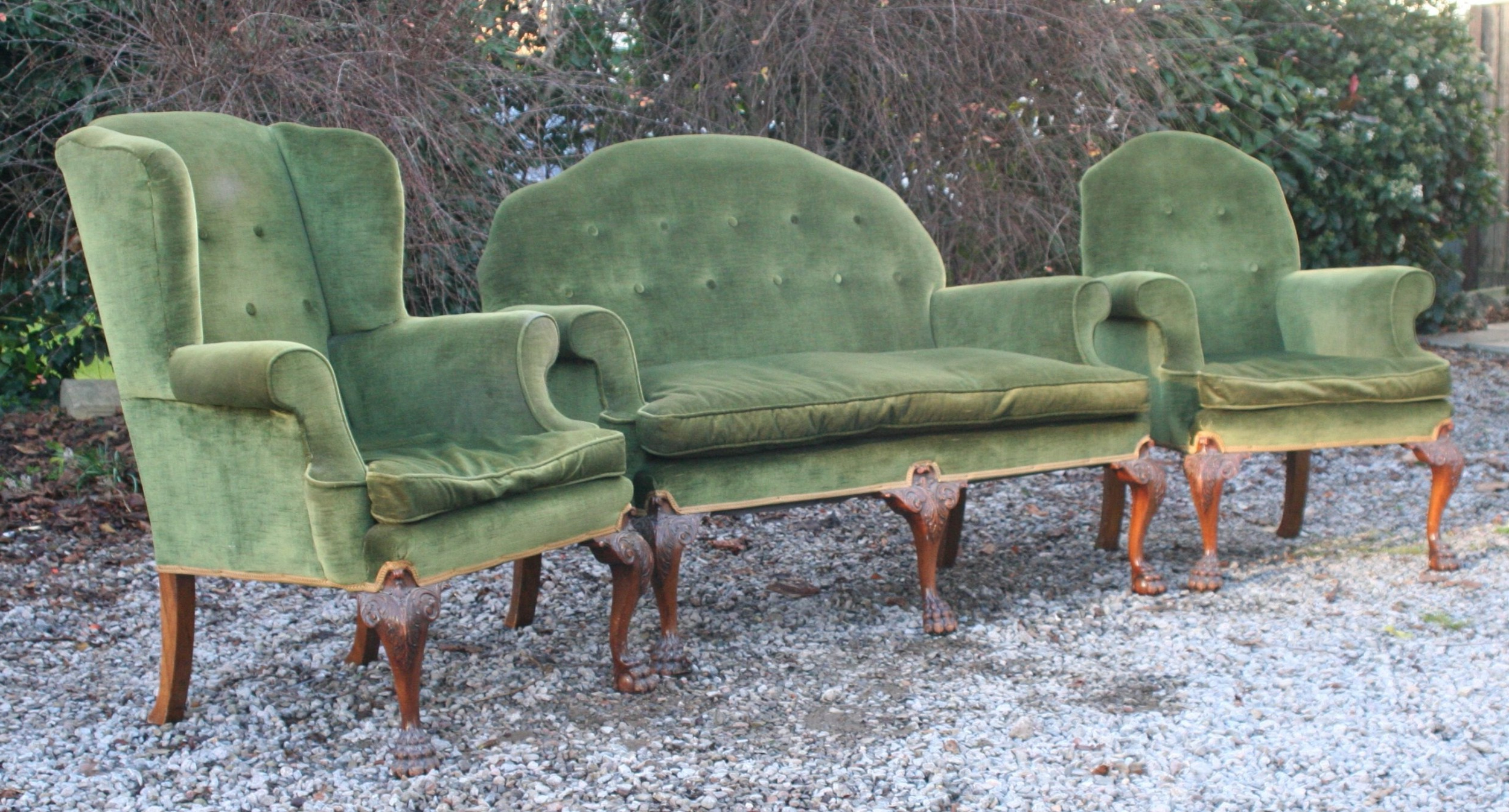 Good Georgian Style Walnut Upholstered Suite, Circa 1910 In Newest Reynolds Armchairs (View 15 of 20)