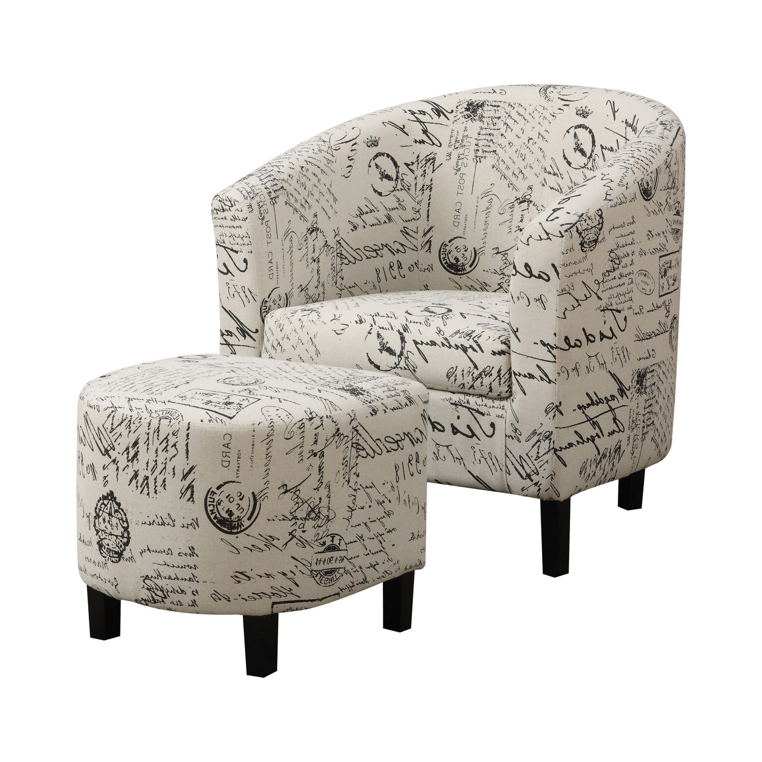 Goodale French Script Barrel Chair And Ottoman Intended For Newest Briseno Barrel Chairs (View 10 of 20)
