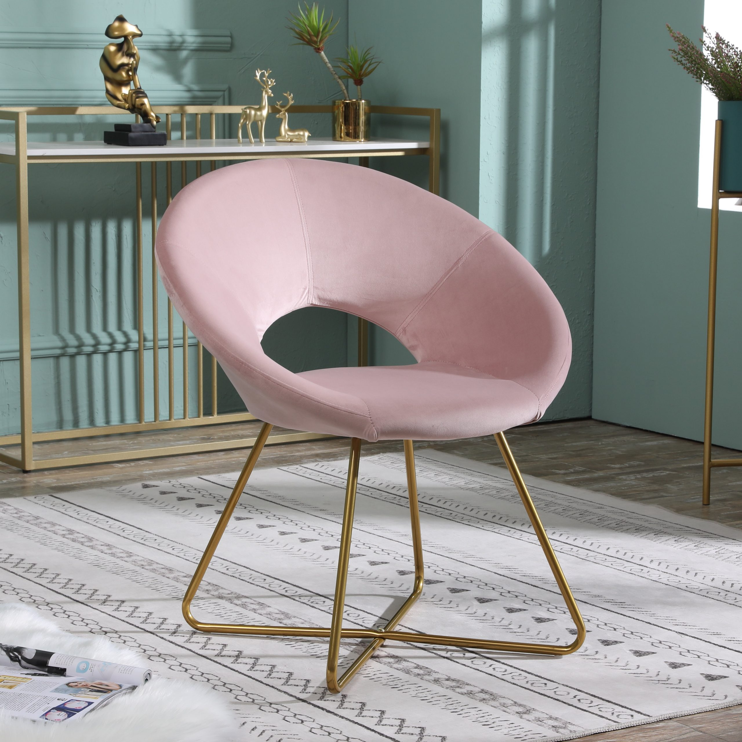 Grinnell Silky Velvet Papasan Chairs For Latest Office Floor Mat Accent Chairs You'll Love In (View 3 of 20)
