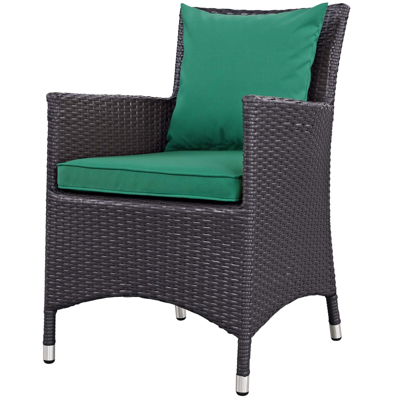 Haleigh Armchairs Regarding Popular Convene Espresso Green Dining Outdoor Patio Arm Chair Eei 1913 Exp Grn (View 17 of 20)