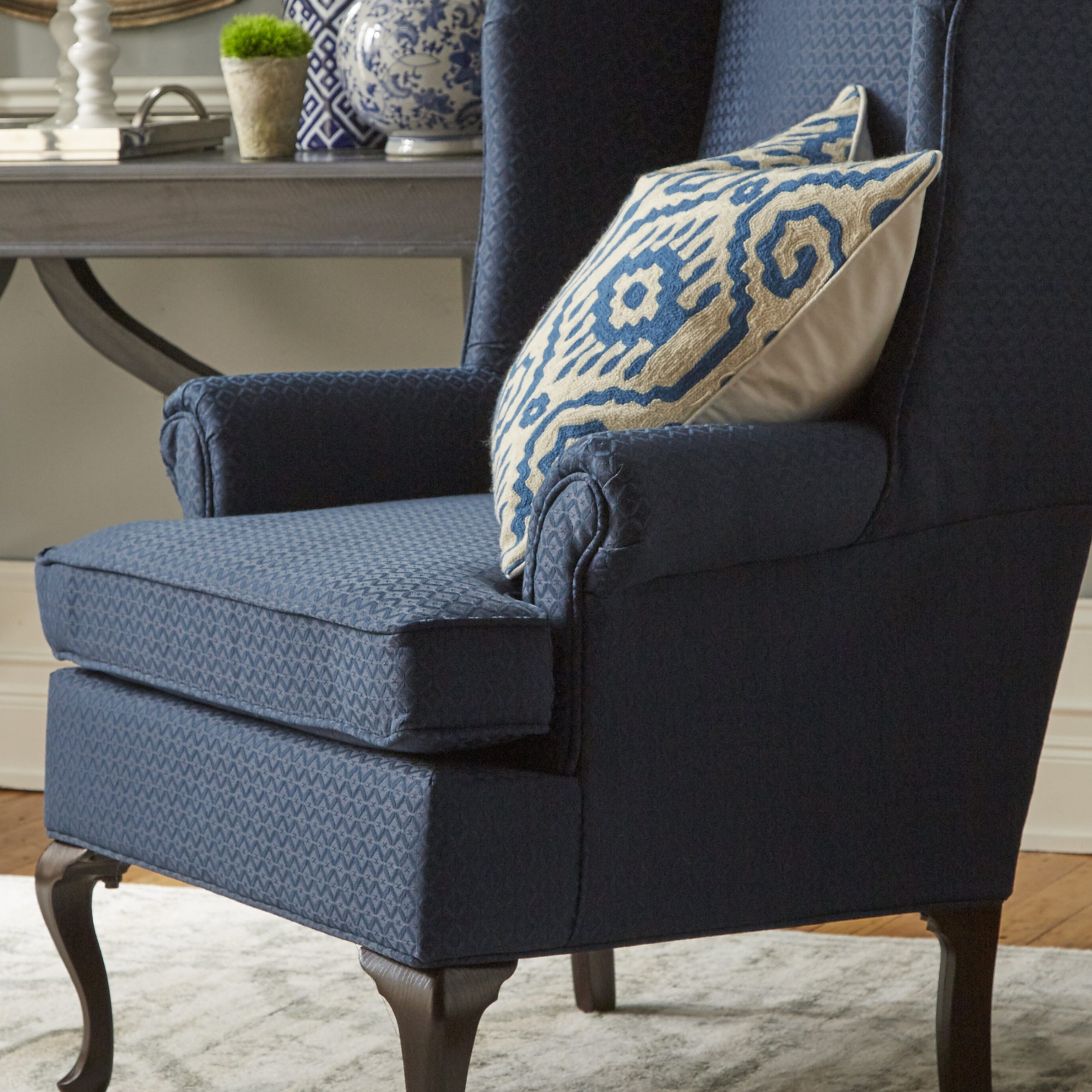 Hallsville Performance Velvet Armchairs And Ottoman Inside Most Current Navy Ottoman Included Accent Chairs You'll Love In  (View 6 of 20)