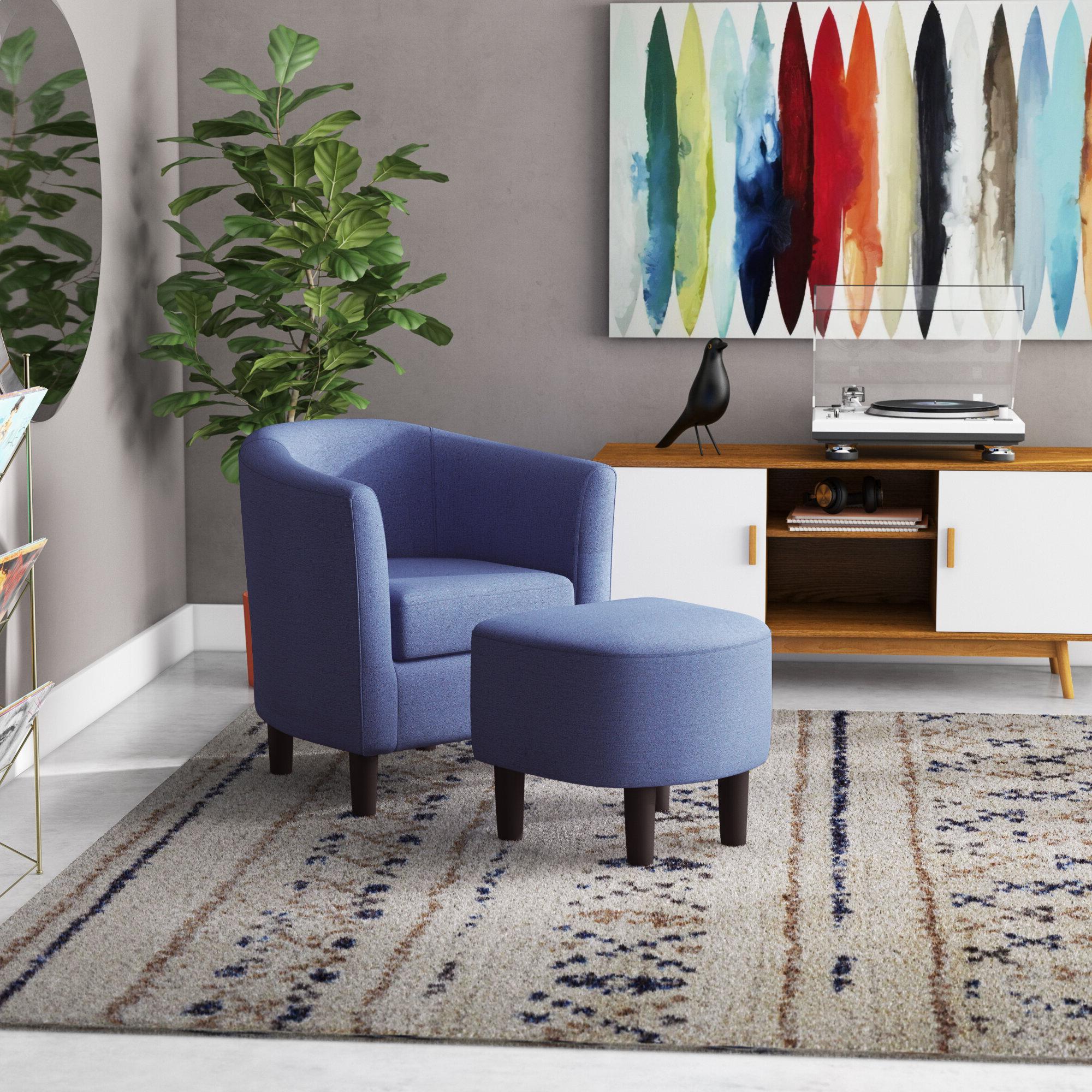 Harmon Cloud Barrel Chairs And Ottoman Regarding Most Popular Latitude Run® Jazouli Linen Barrel Chair And Ottoman (View 3 of 20)