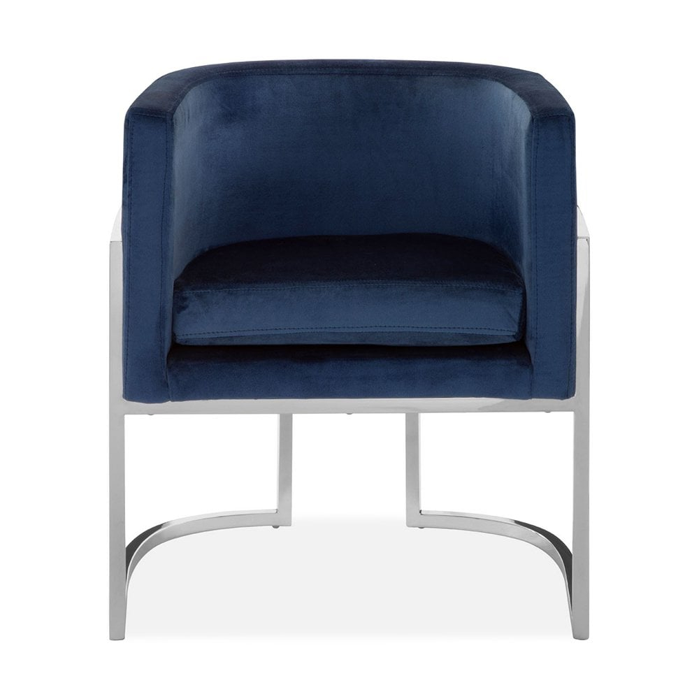 Haus Living Jayde Lounge Chair, Velvet Upholstered, Blue And Silver For Well Known Jayde Armchairs (View 4 of 20)