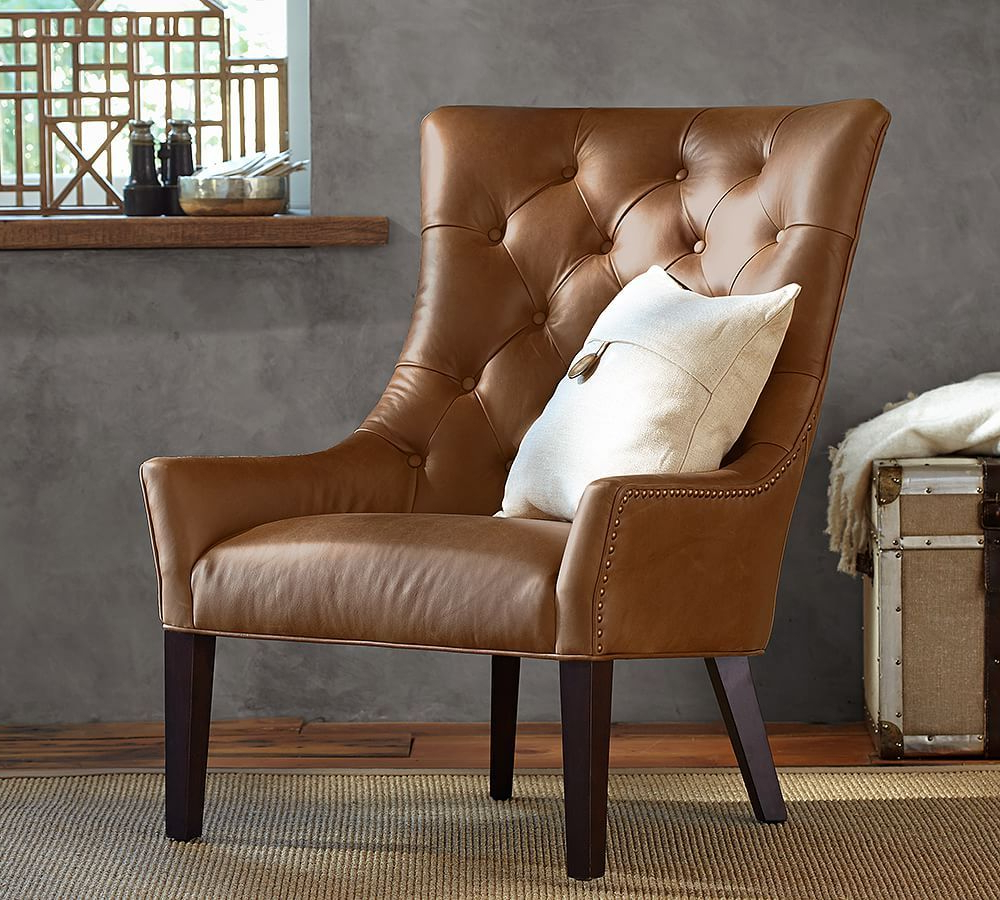 Hayes Leather Armchair With Bronze Nailheads, Polyester In Newest Marisa Faux Leather Wingback Chairs (View 14 of 20)