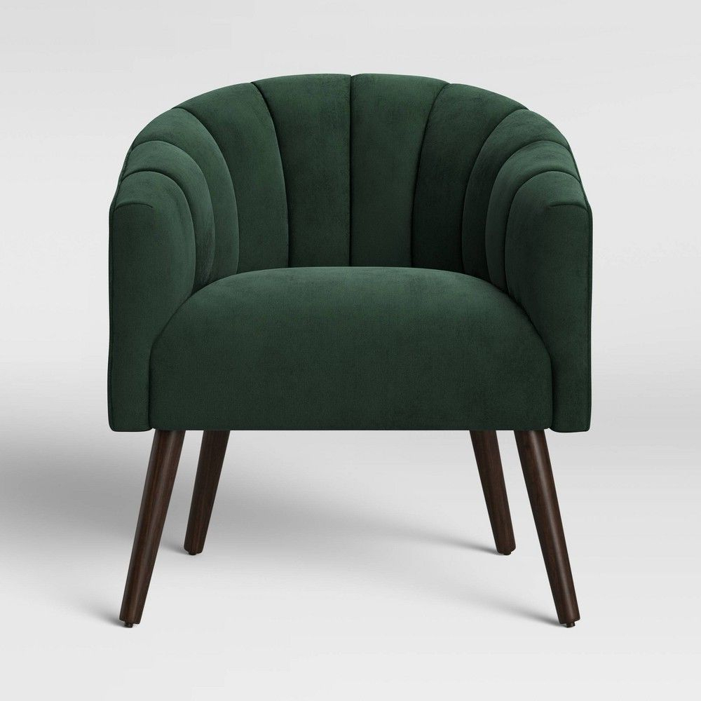 Indianola Modern Barrel Chairs Pertaining To Popular Gwynne Modern Barrel Chair With Channel Seams Velvet Forest (View 6 of 20)