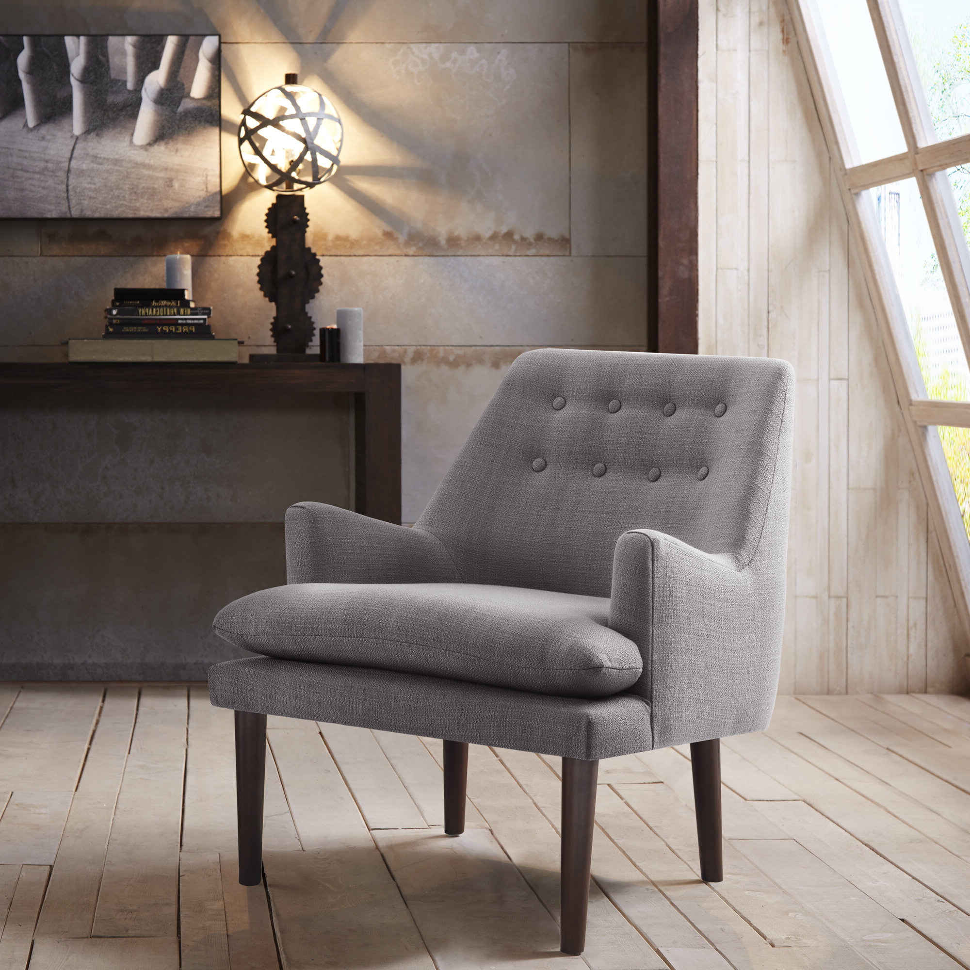 "Ivo 30"" W Tufted Wingback Chair Within Favorite Suki Armchairs By Canora Grey (View 8 of 20)"