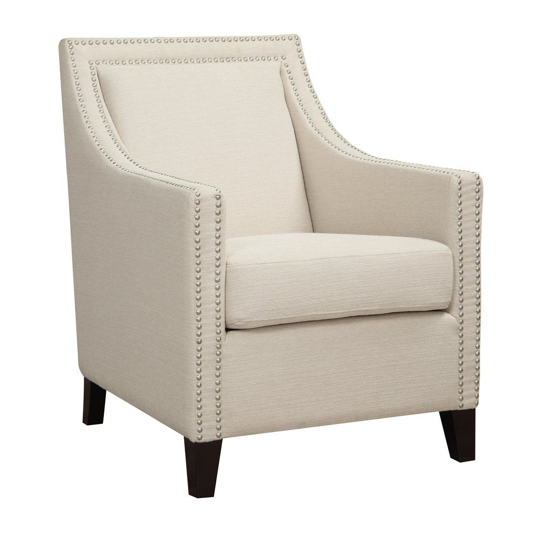 James Armchairs Intended For Well Liked Oliver & James Sarah Chic Nailhead Accent Chair (light Beige (View 18 of 20)