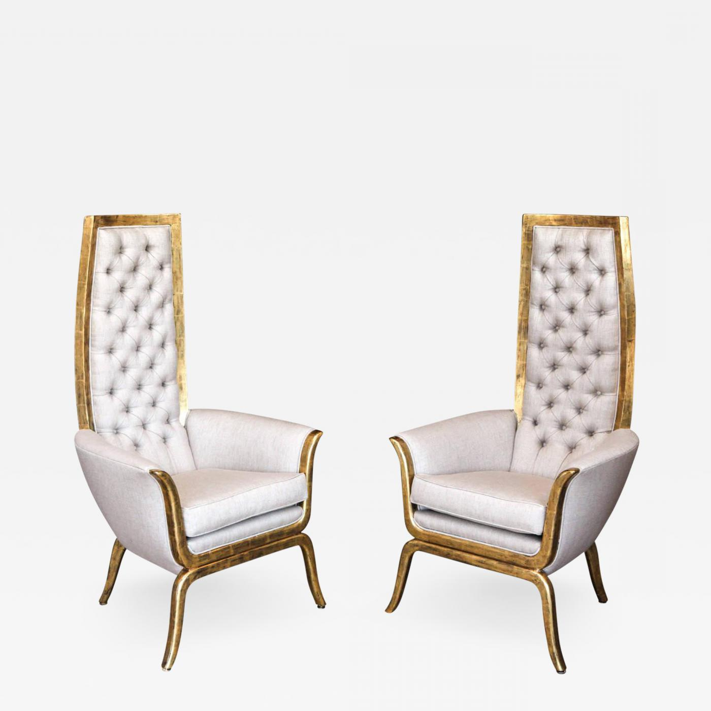 James Mont – Pair Of James Mont Style High Back Armchairs With 22 Karat  Gold Finish With Regard To Most Popular James Armchairs (View 15 of 20)