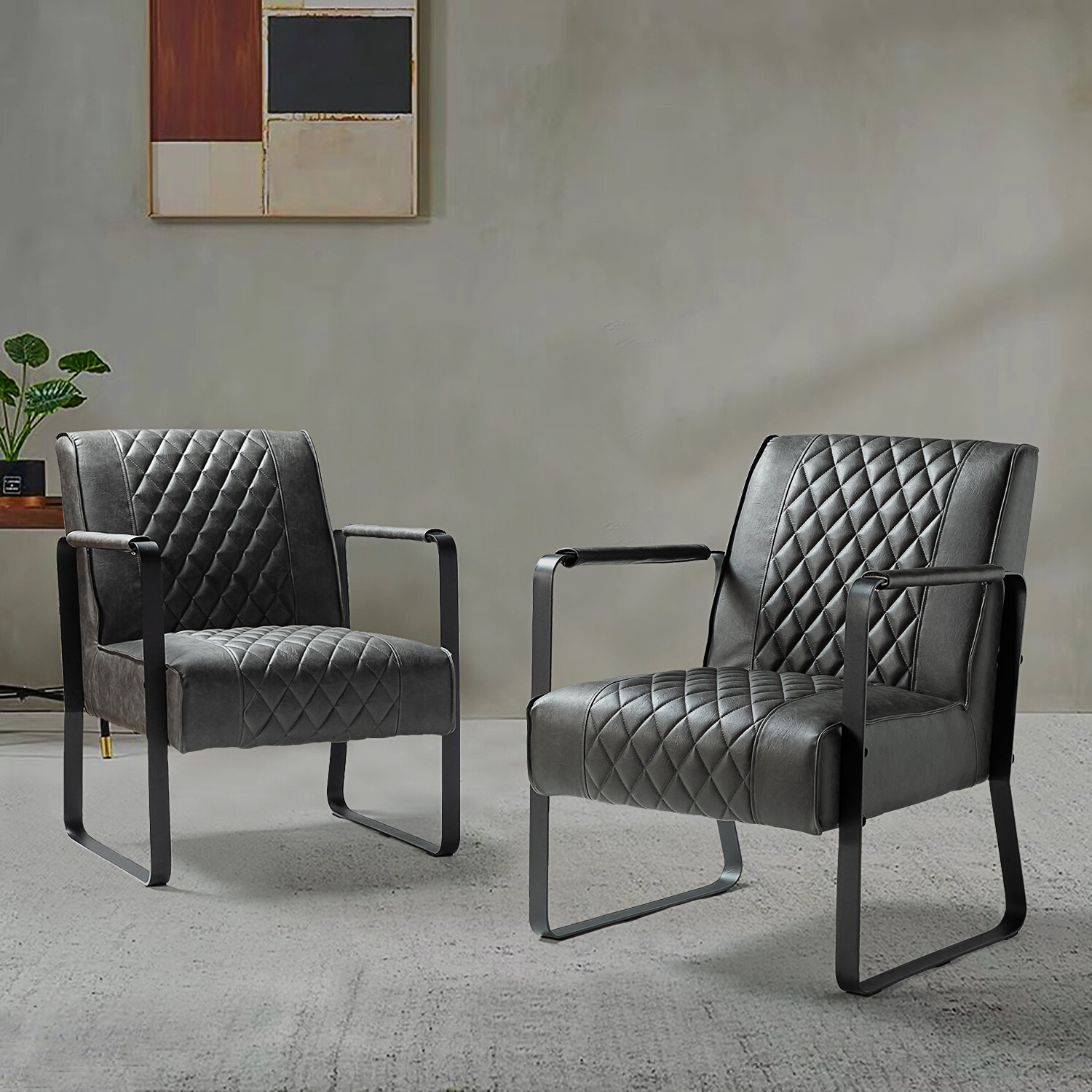 """Jarin Faux Leather Armchairs Throughout Most Up To Date Aizza 25"""" W Faux Leather Armchair (View 11 of 20)"""