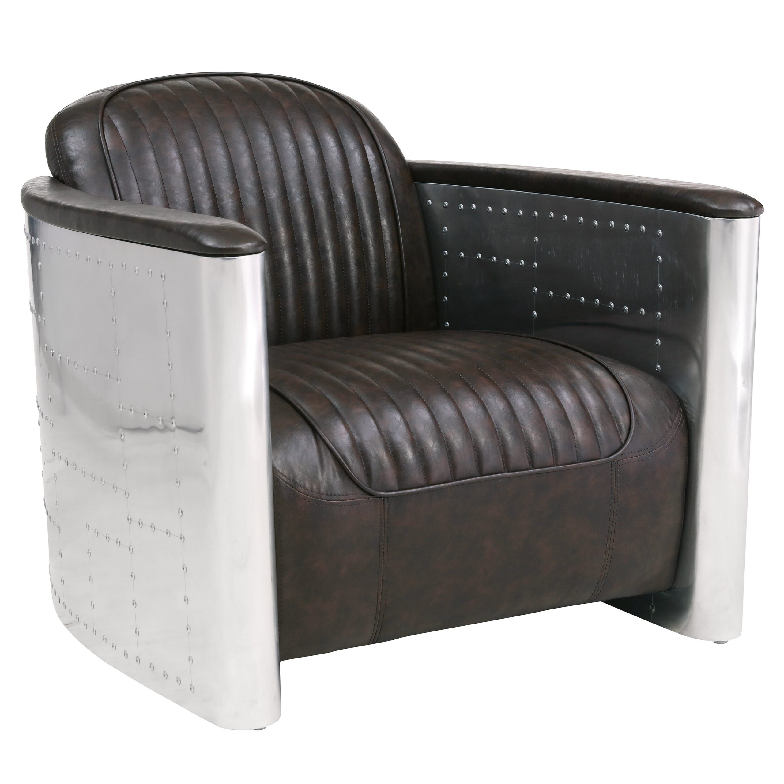 Jarin Faux Leather Armchairs Throughout Well Known Etkin (View 6 of 20)