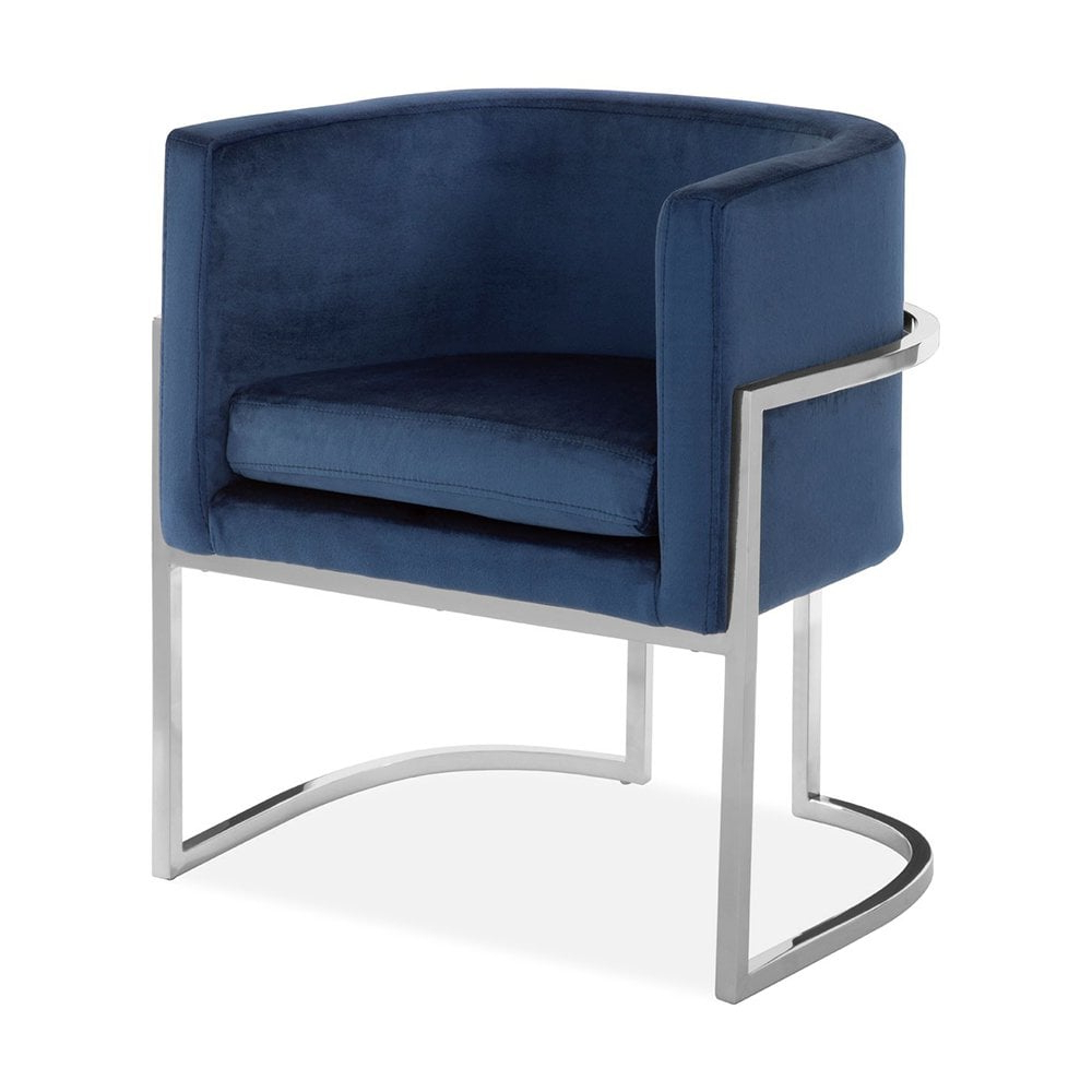 Jayde Armchairs With Favorite Haus Living Jayde Lounge Chair, Velvet Upholstered, Blue And Silver (View 2 of 20)