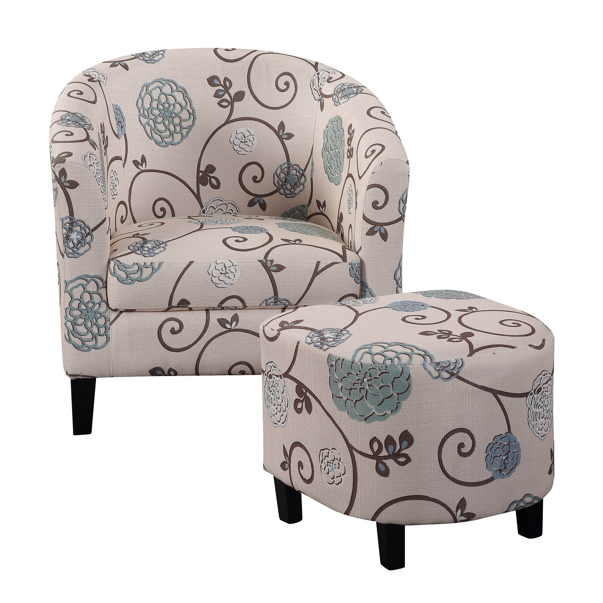 Jazouli Linen Barrel Chairs And Ottoman For Well Liked Lei Barrel Chair And Ottoman (View 15 of 20)