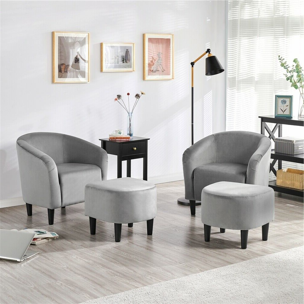 Jazouli Linen Barrel Chairs And Ottoman In Most Recent Upholstered Club Chair And Ottoman Set Accent Armchair With Ottoman (View 17 of 20)