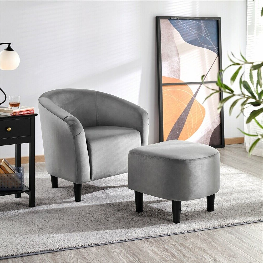 Jazouli Linen Barrel Chairs And Ottoman Intended For Well Liked Upholstered Club Chair And Ottoman Set Accent Armchair With Ottoman (View 12 of 20)