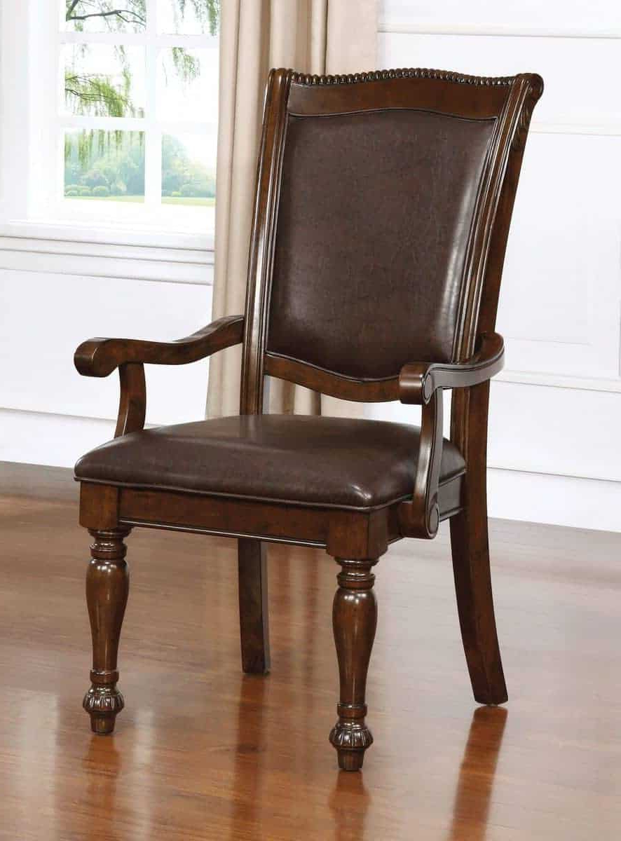 Jill Traditional Style Leatherette Arm Chair (set Of 2) For Well Known Jill Faux Leather Armchairs (View 11 of 20)