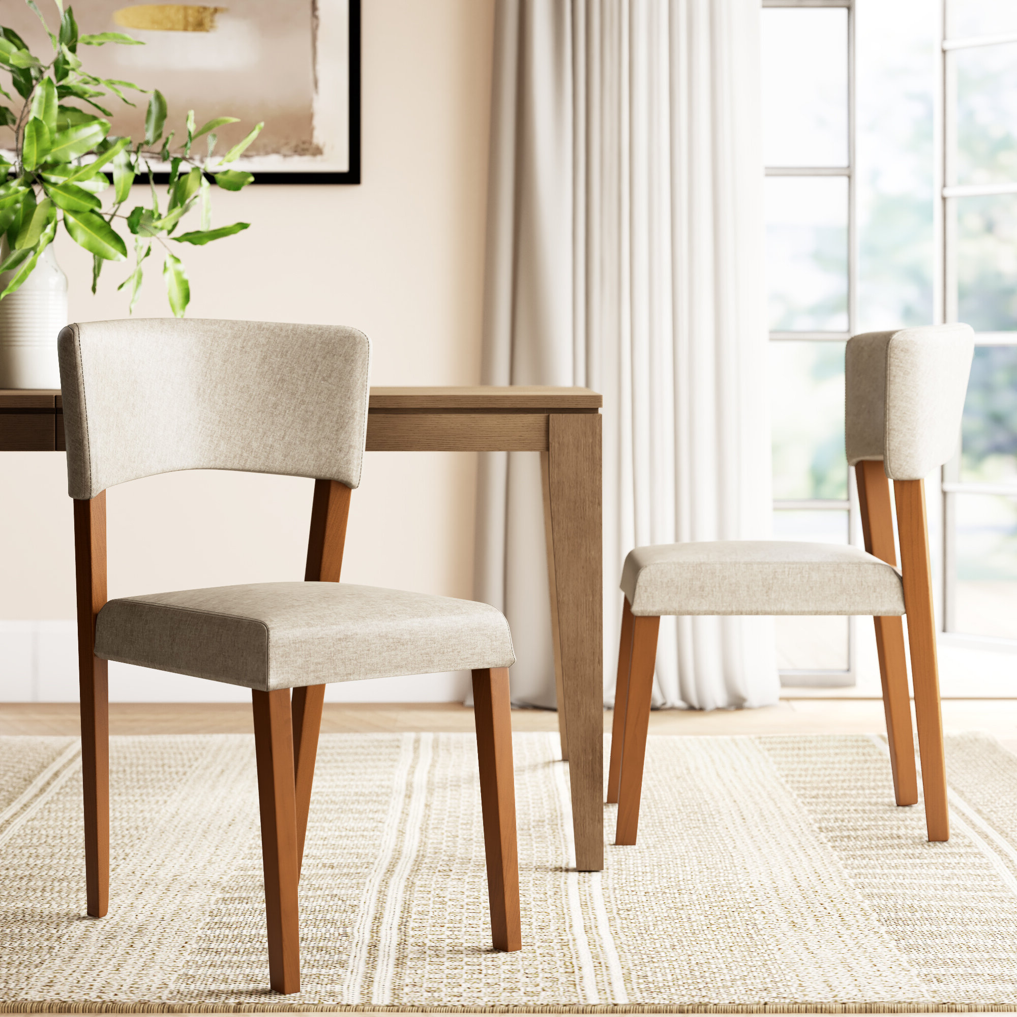 Joss & Main Within Bob Stripe Upholstered Dining Chairs (set Of 2) (View 15 of 20)