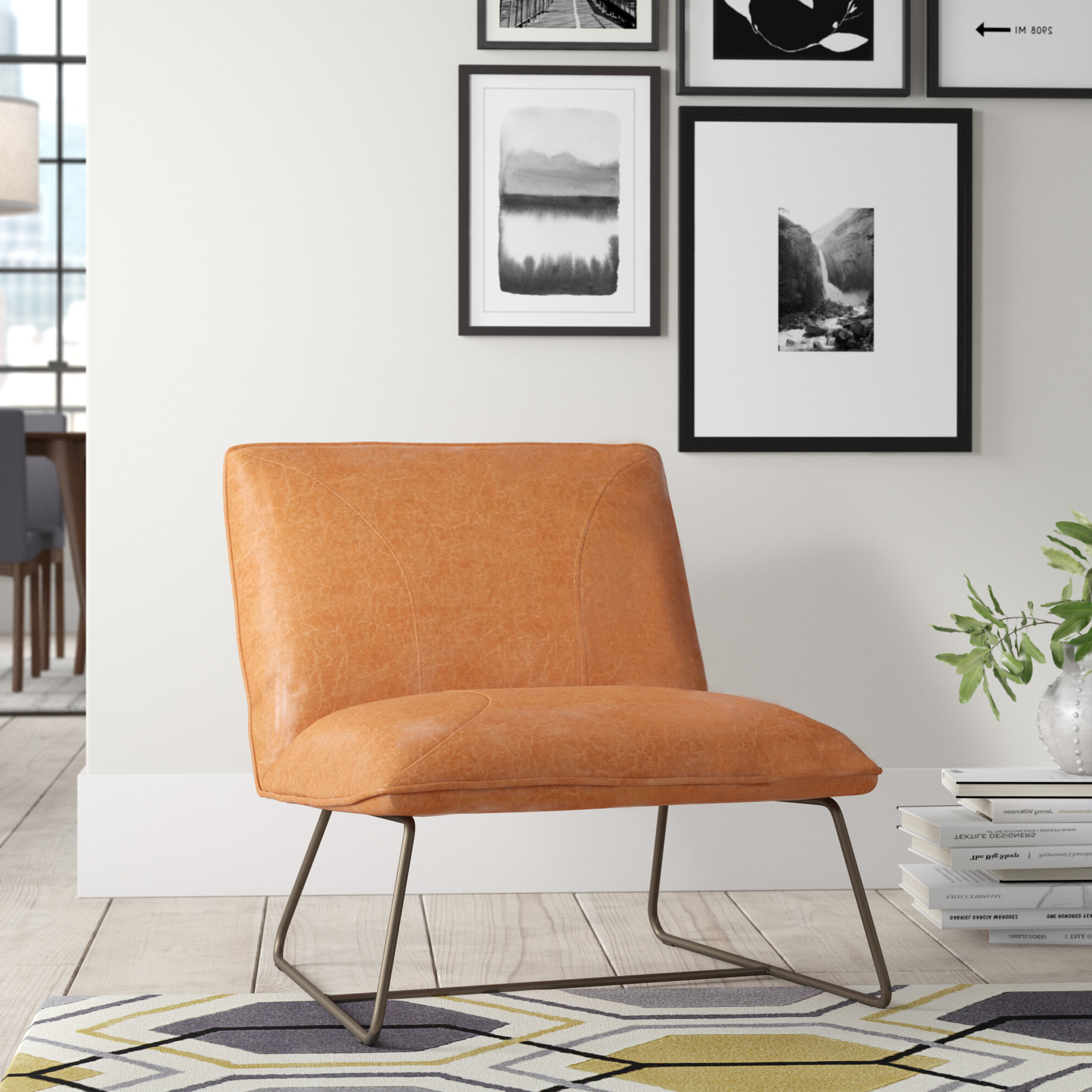 """Karina 28"""" Slipper Chair Intended For 2020 Broadus Genuine Leather Suede Side Chairs (View 17 of 20)"""