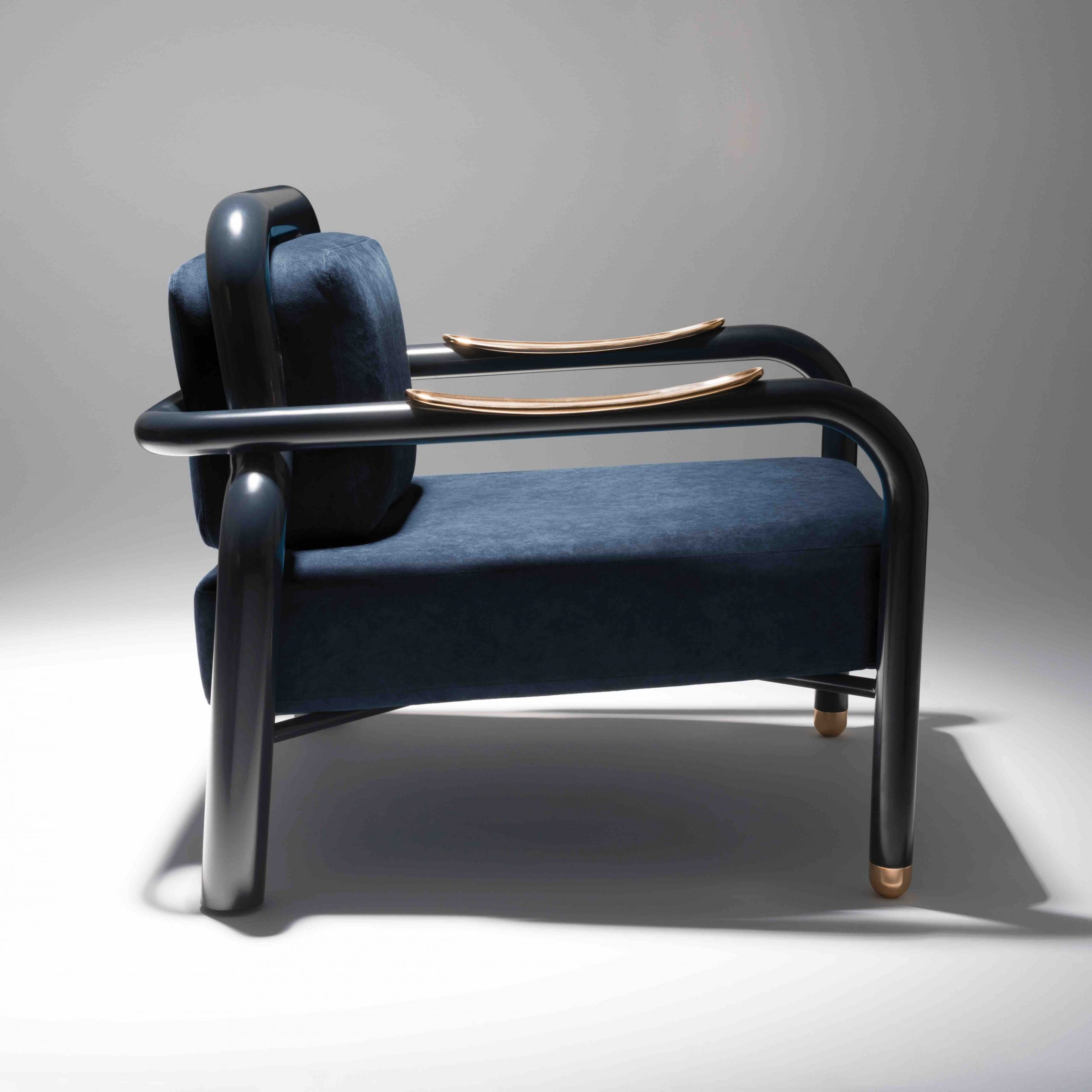 Kayak / Lacquered Steel, Polished Bronze And Alcantara Intended For 2019 Harmoni Armchairs (View 6 of 20)