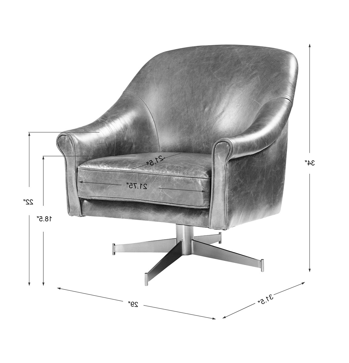Langham Leather Swivel Club Chair Pertaining To Well Known Montenegro Faux Leather Club Chairs (View 11 of 20)
