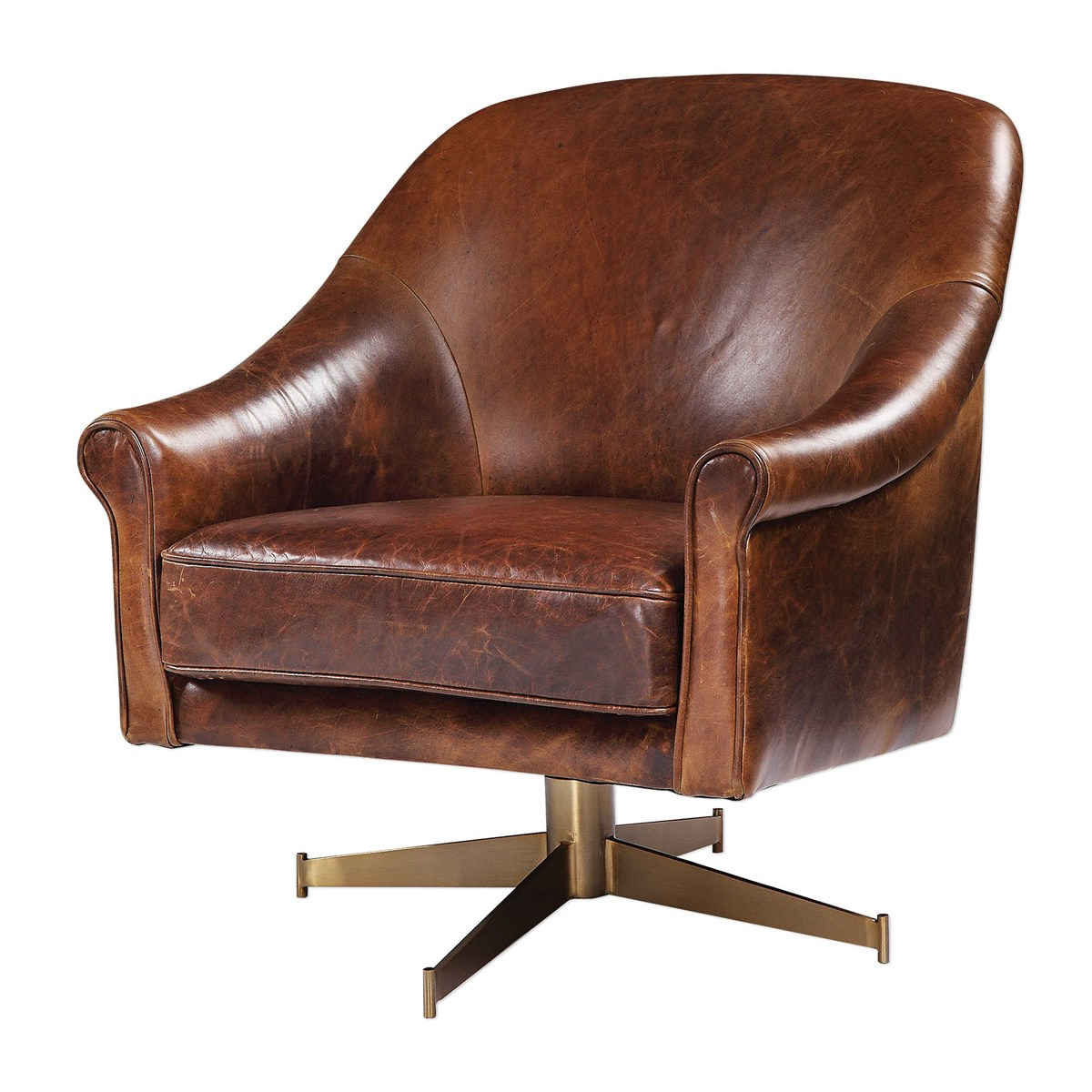 Langham Leather Swivel Club Chair With Regard To Recent Montenegro Faux Leather Club Chairs (View 6 of 20)