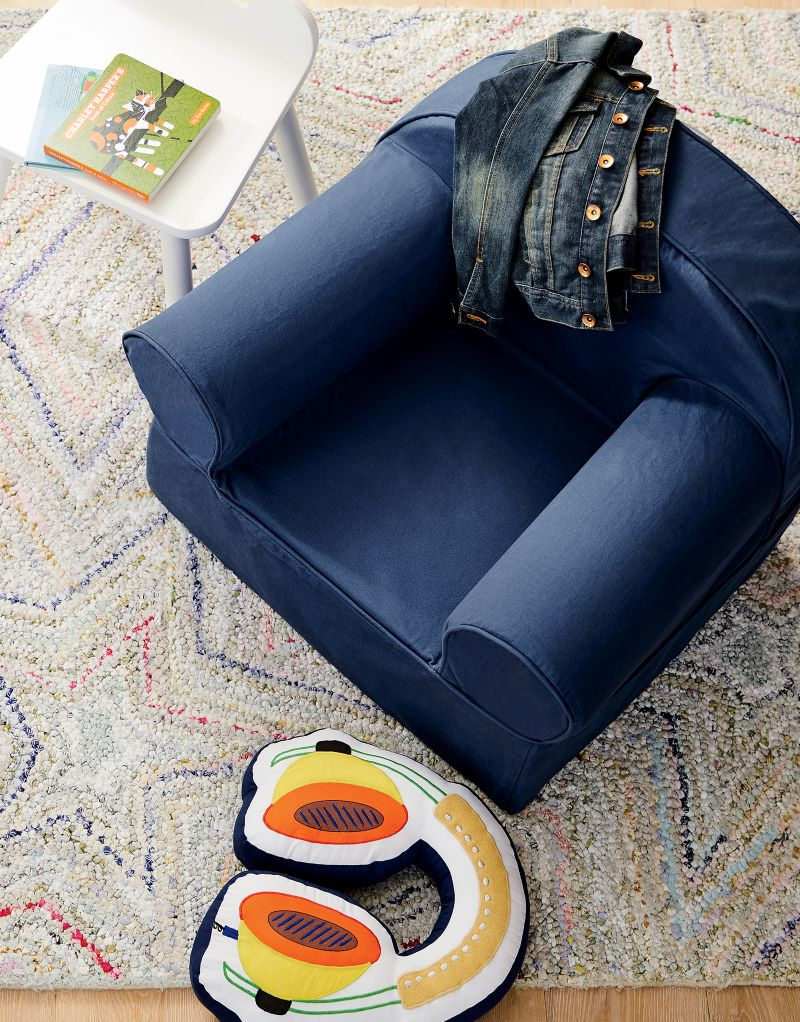 Large Navy Nod Chair – Crate And Barrel Pertaining To Most Recently Released Ansar Faux Leather Barrel Chairs (View 20 of 20)
