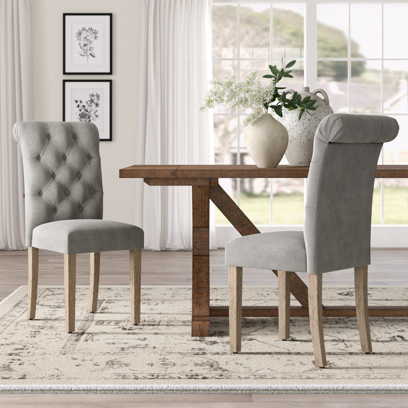 Lark Manor Bushey Roll Top Upholstered Dining Chair With Most Recently Released Bob Stripe Upholstered Dining Chairs (set Of 2) (View 13 of 20)
