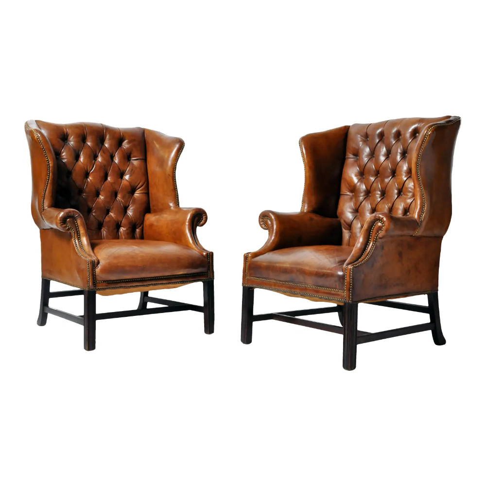 Latest 1910s Vintage English Leather Wingback Armchairs – A Pair With Regard To Columbus Armchairs (View 12 of 20)